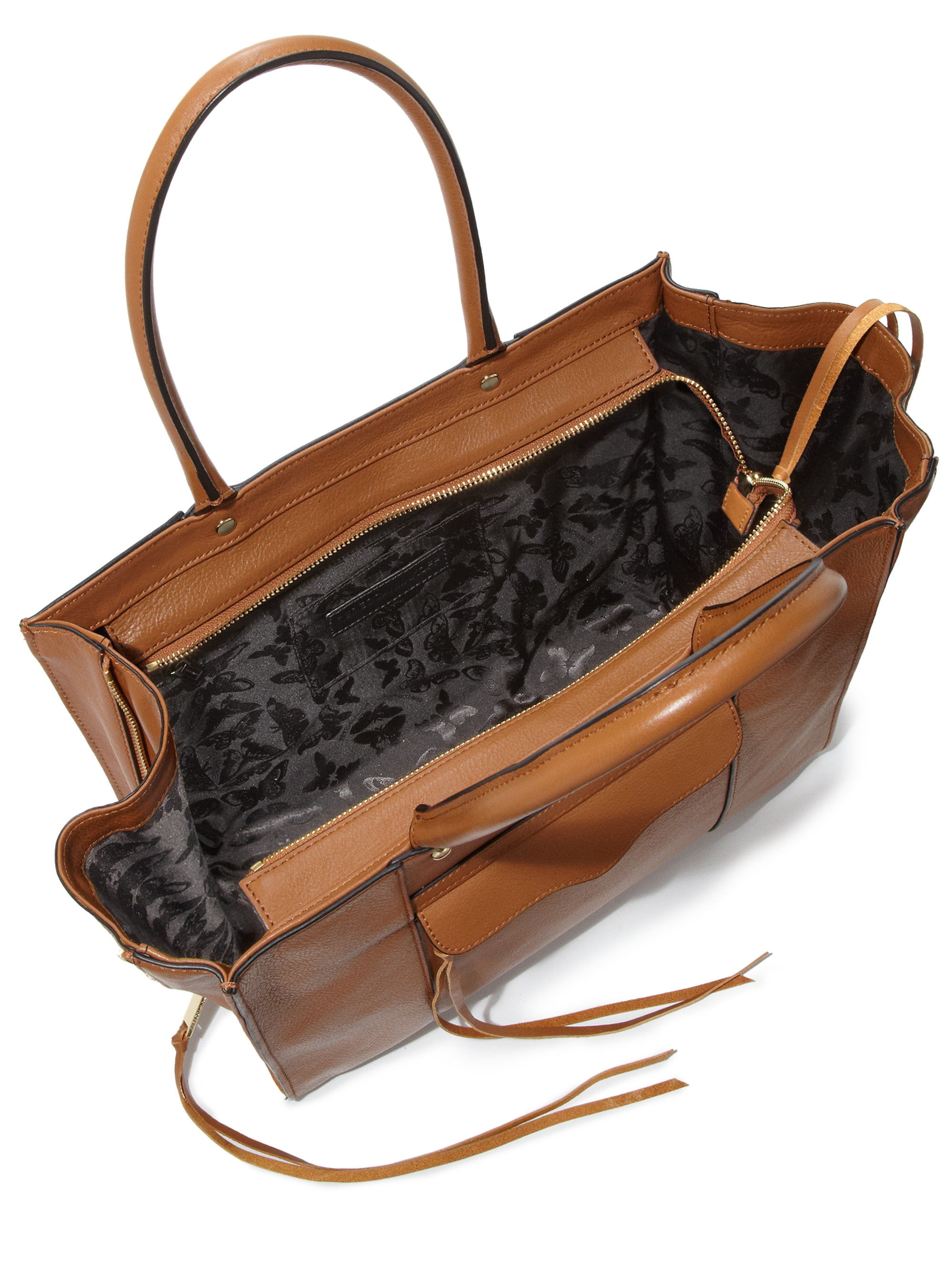 Rebecca Minkoff Mab Medium Side Zip Leather Tote In Brown