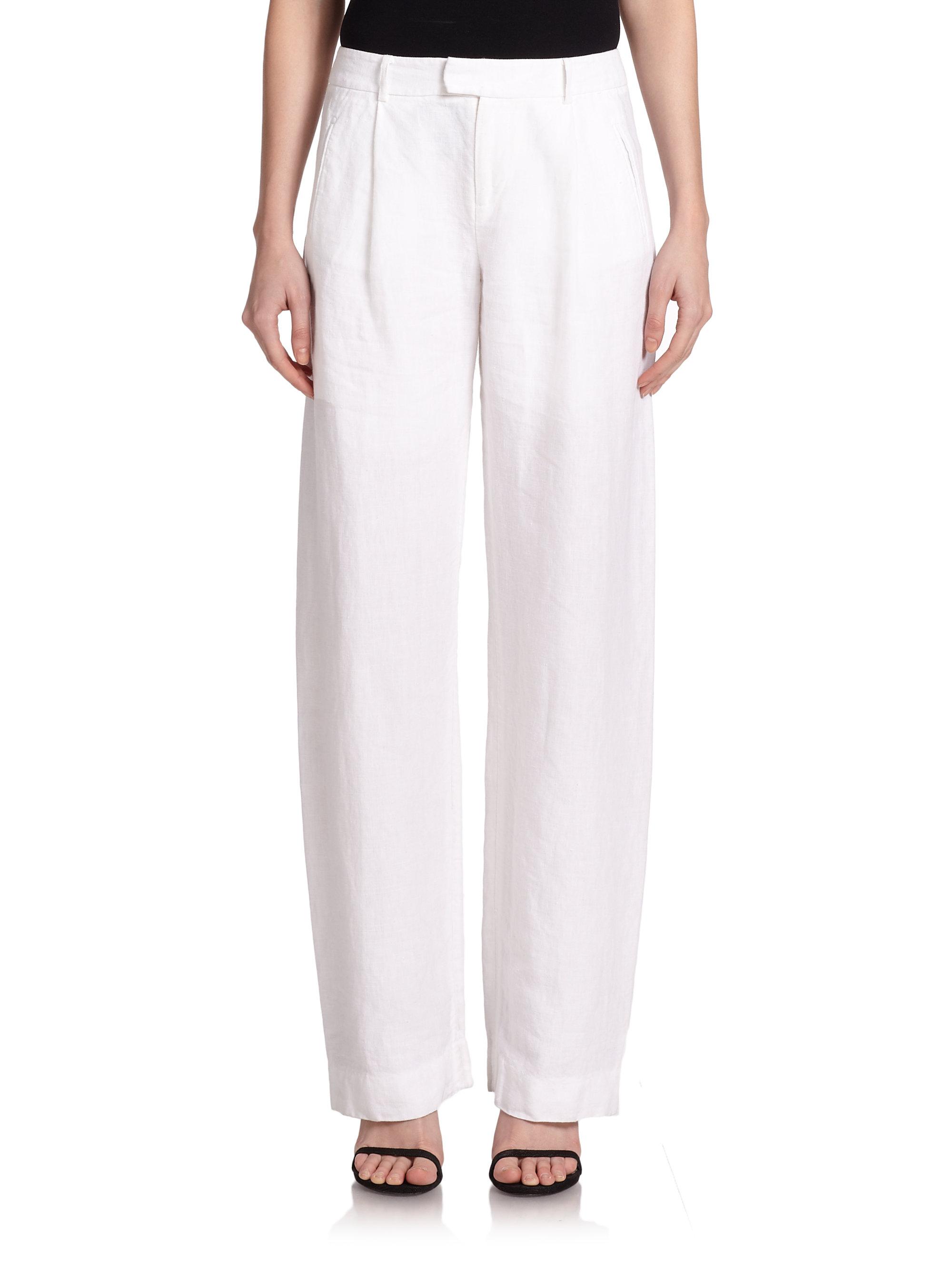 Lyst Atm Wide Leg Linen Pants In White