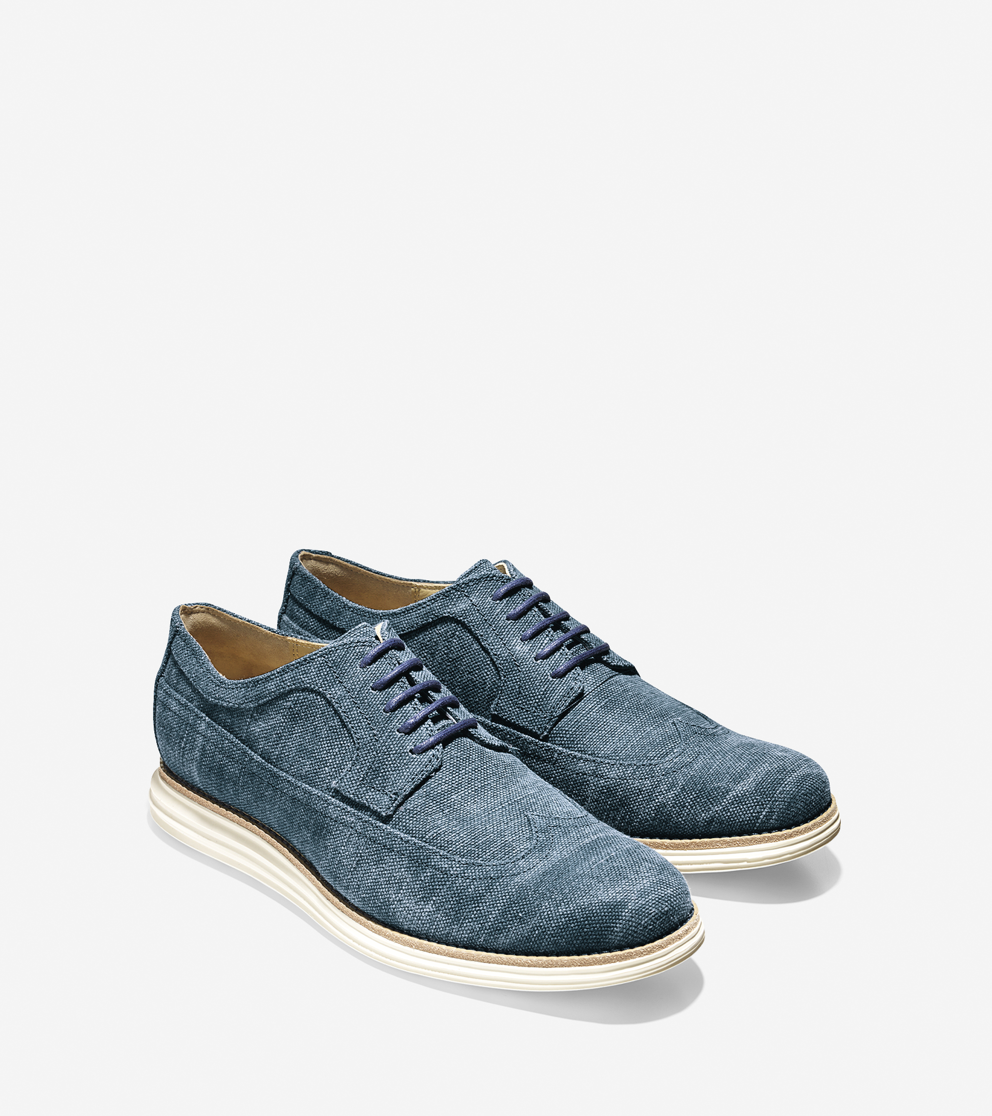 cole haan lunargrand wingtip oxford in blue for
