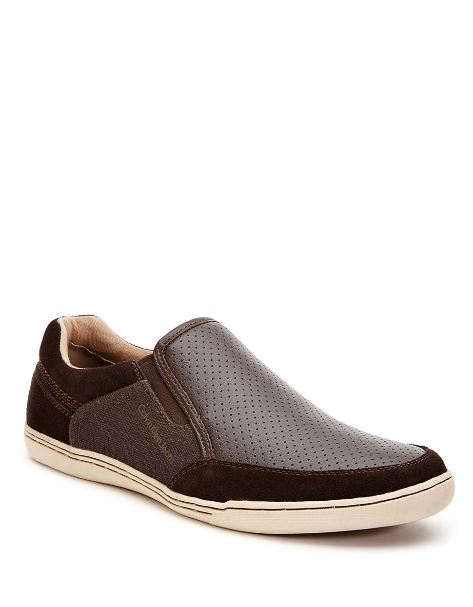 calvin klein chet slip on sneakers in brown for men lyst. Black Bedroom Furniture Sets. Home Design Ideas