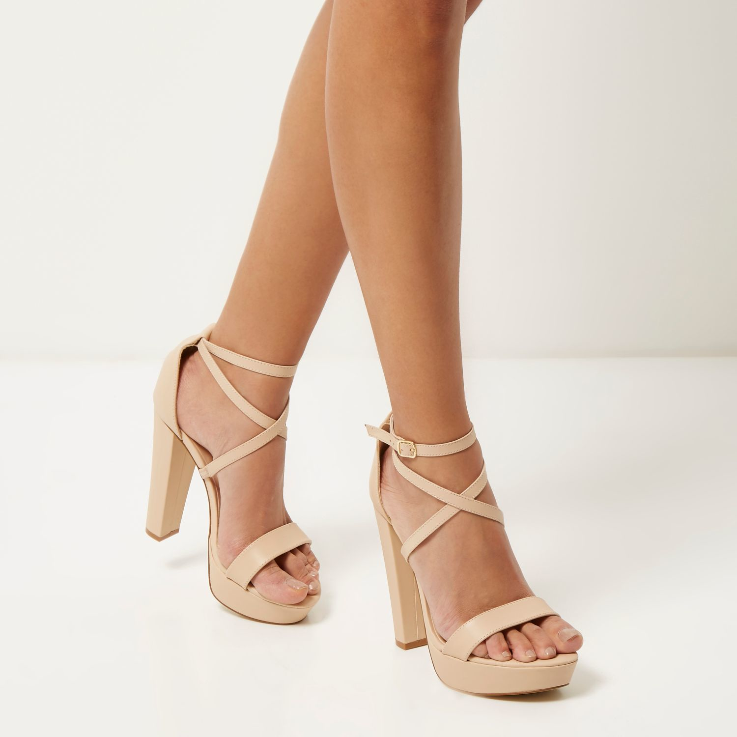 River Island Light Pink Leather Platform Heels In Pink Lyst