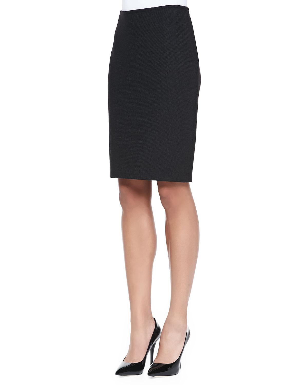 St. john Nouveau Boucle Knit Pencil Skirt in Black | Lyst
