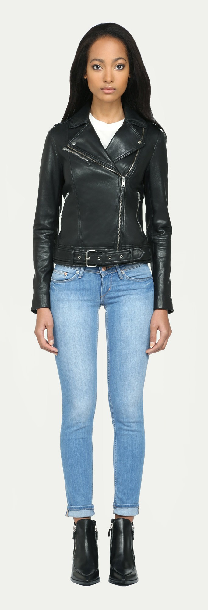 soia kyo kenley black biker leather jacket with buckle