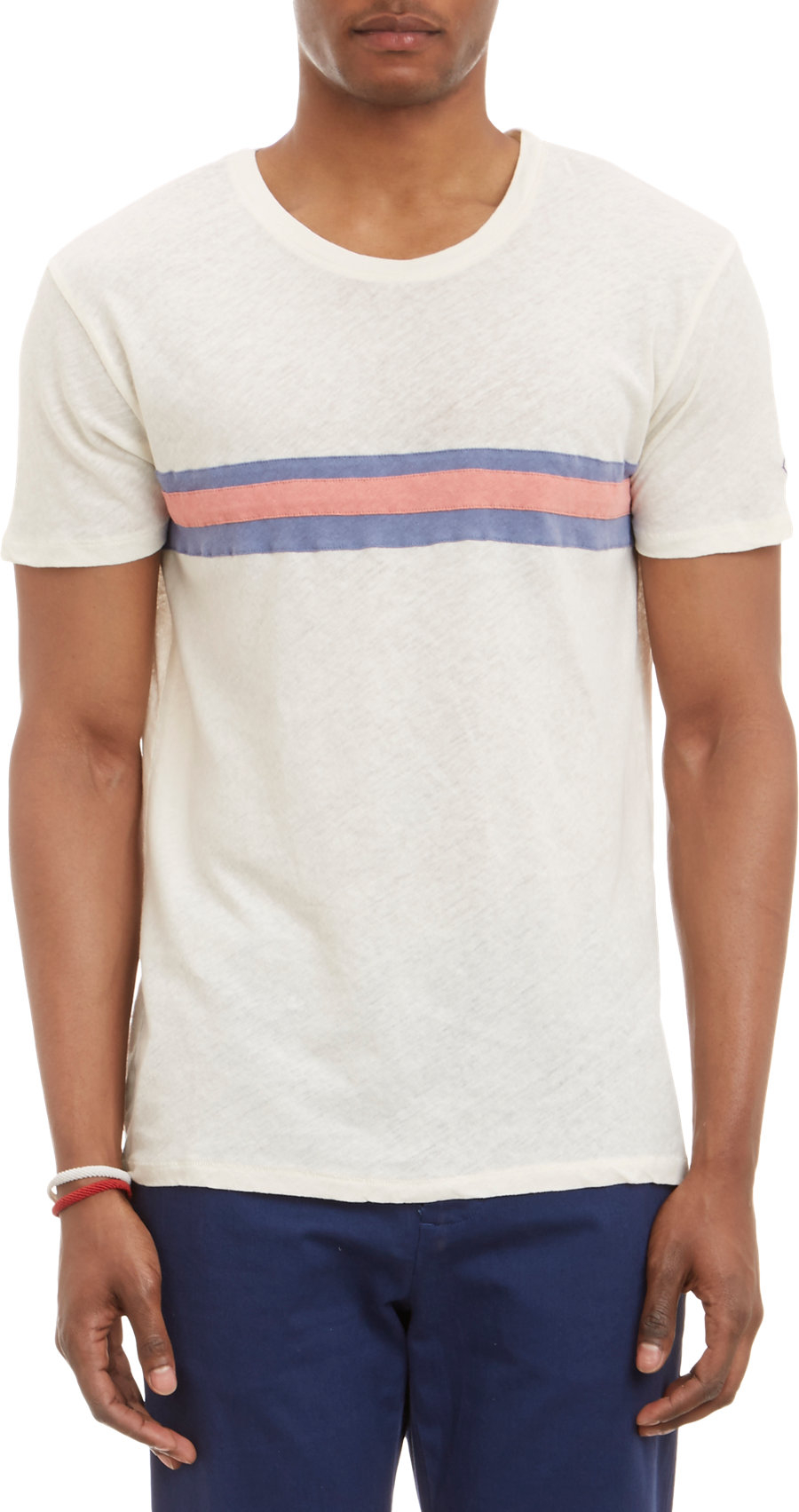 lyst gant rugger chest stripe crewneck tshirt in white
