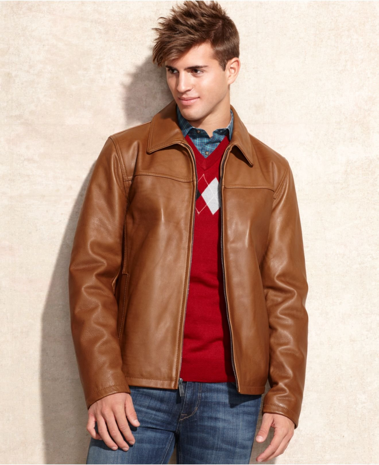 Vince camuto Leather Jacket in Brown for Men | Lyst