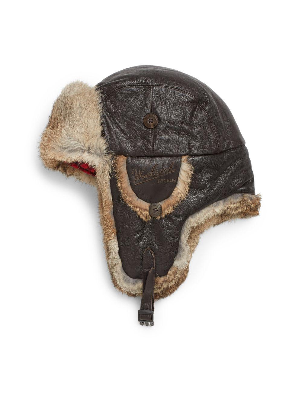 Lyst Woolrich Lambskin Leather Amp Rabbit Fur Trapper Hat