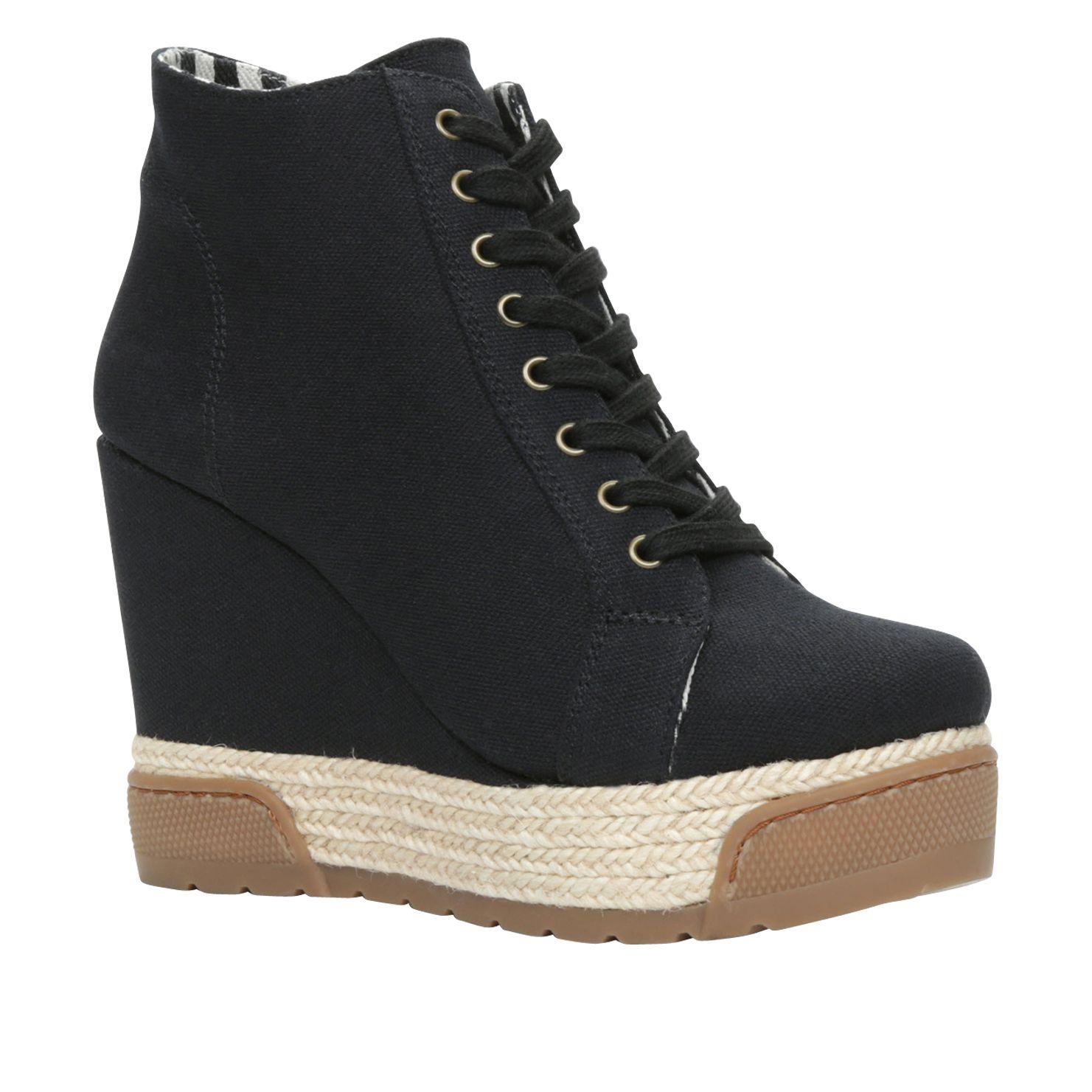aldo nydadorien wedge lace up espadrille shoes in black lyst