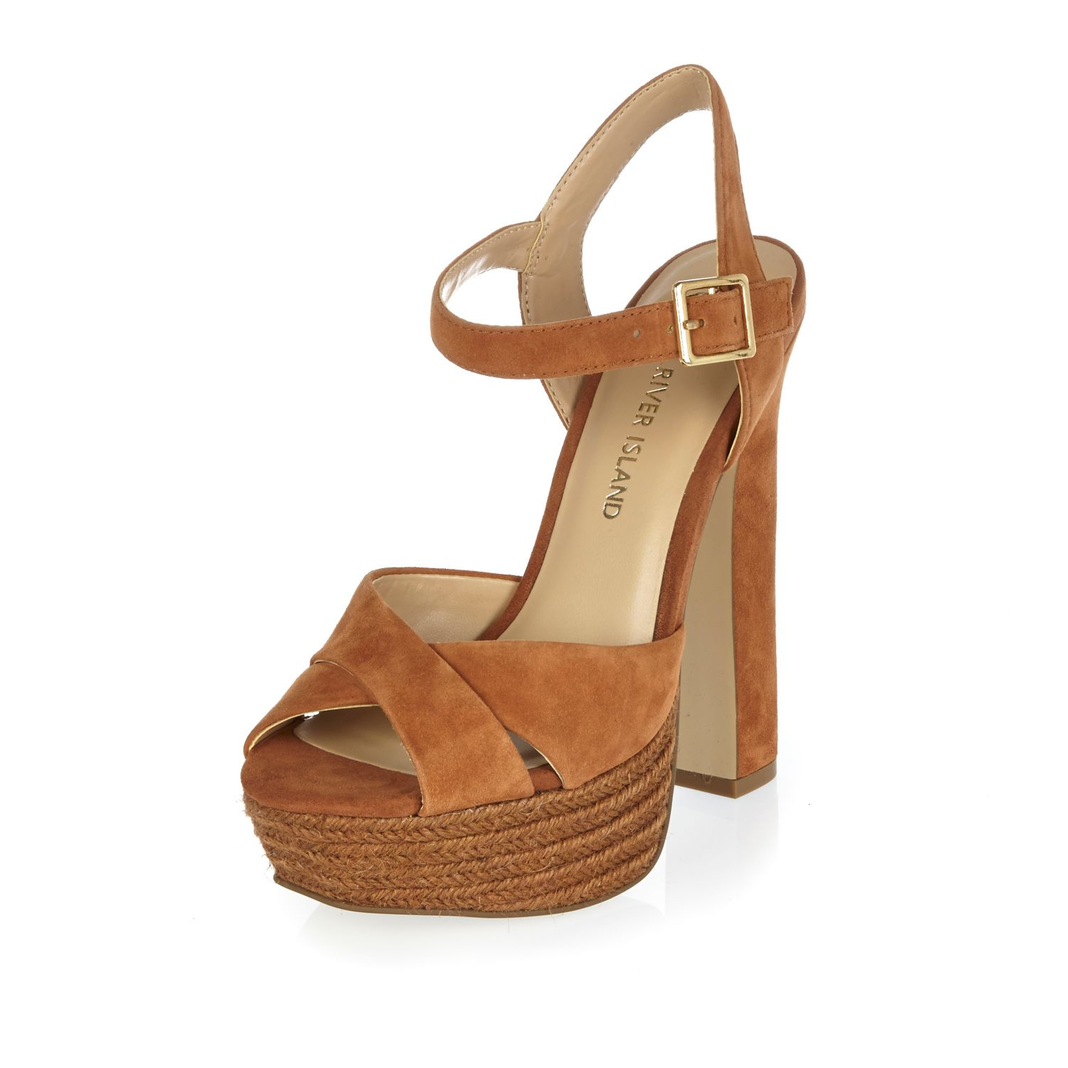 River island Brown Suede Espadrille Platform Heels in Brown | Lyst