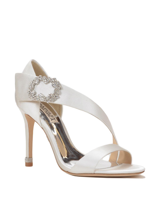 badgley mischka embellished evening shoe in white lyst