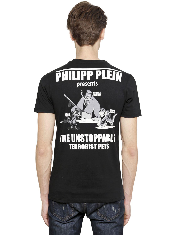 philipp plein gangsta frog cotton t shirt in black for men. Black Bedroom Furniture Sets. Home Design Ideas