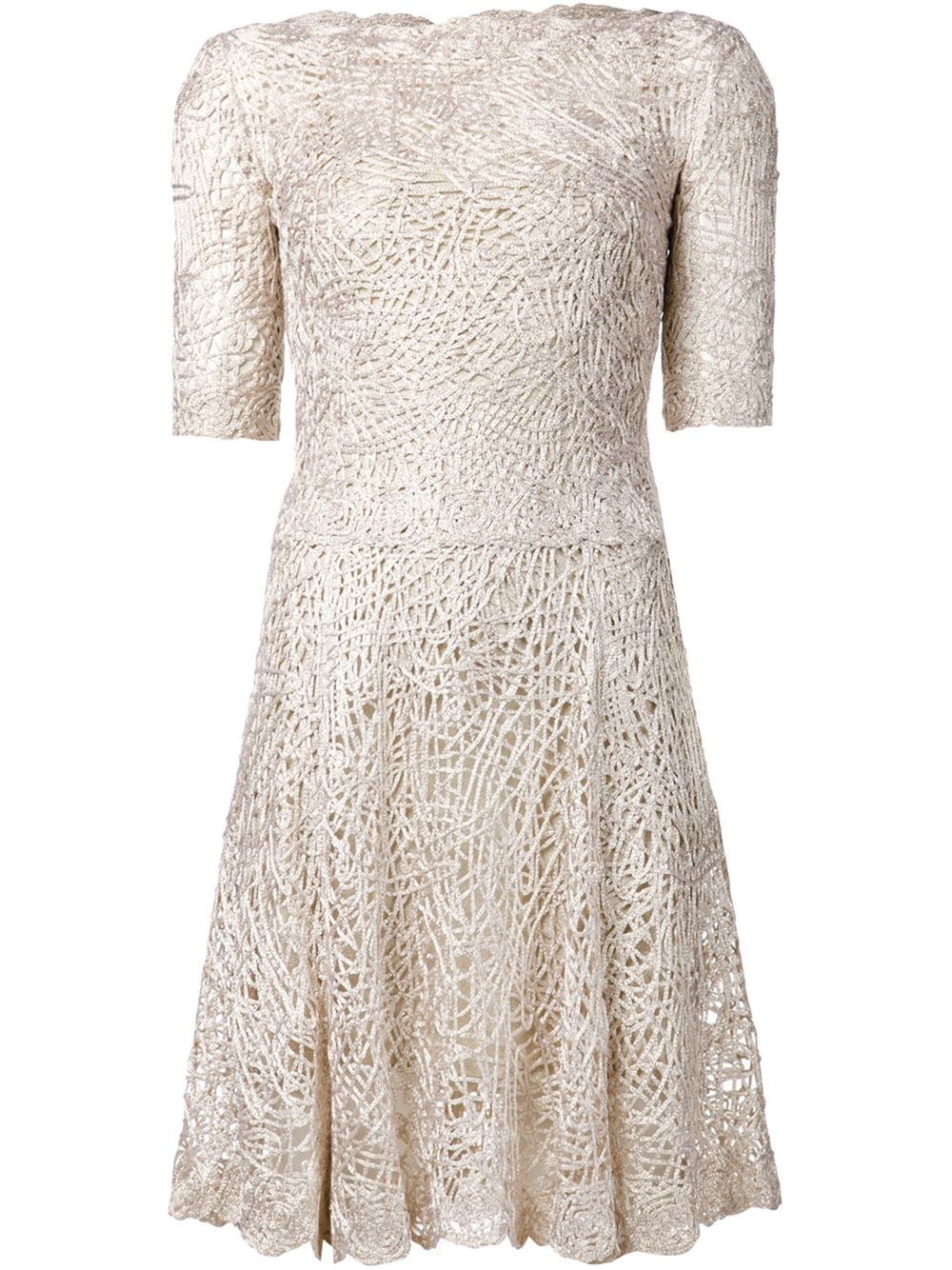 Lyst Oscar De La Renta Birds Nest Crochet Dress In Metallic