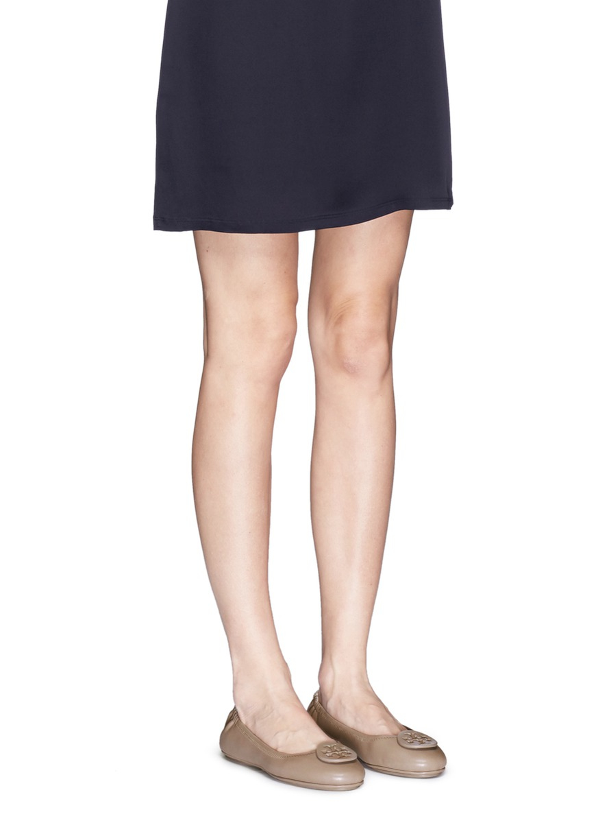 Lyst Tory Burch Minnie Travel Leather Ballet Flats In Gray