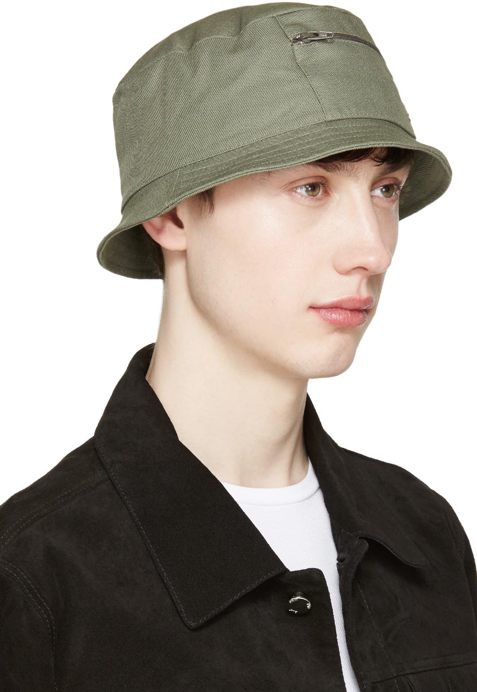 36d84b3e888 Lyst - Maison Kitsuné Khaki Canvas Bucket Hat in Natural for Men