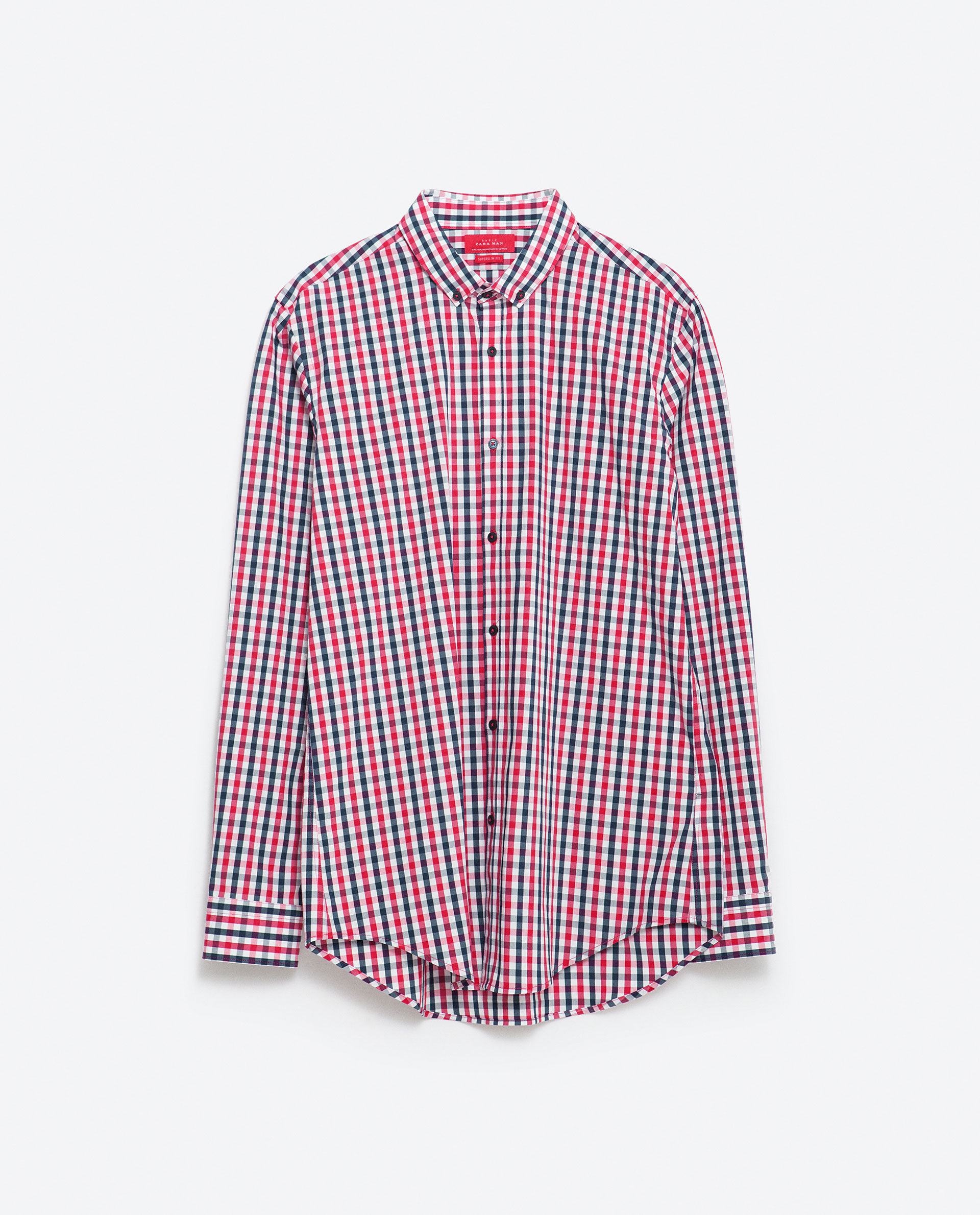 Zara super slim fit checked shirt in red for men lyst for Super slim dress shirts