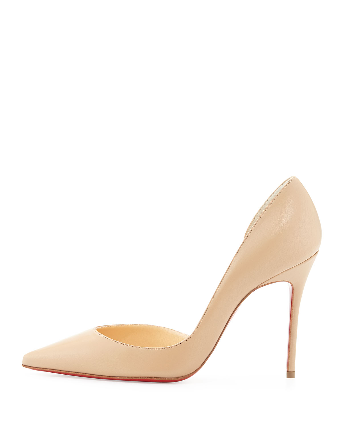 christian louboutin iriza half d 39 orsay leather pumps in beige nude lyst. Black Bedroom Furniture Sets. Home Design Ideas
