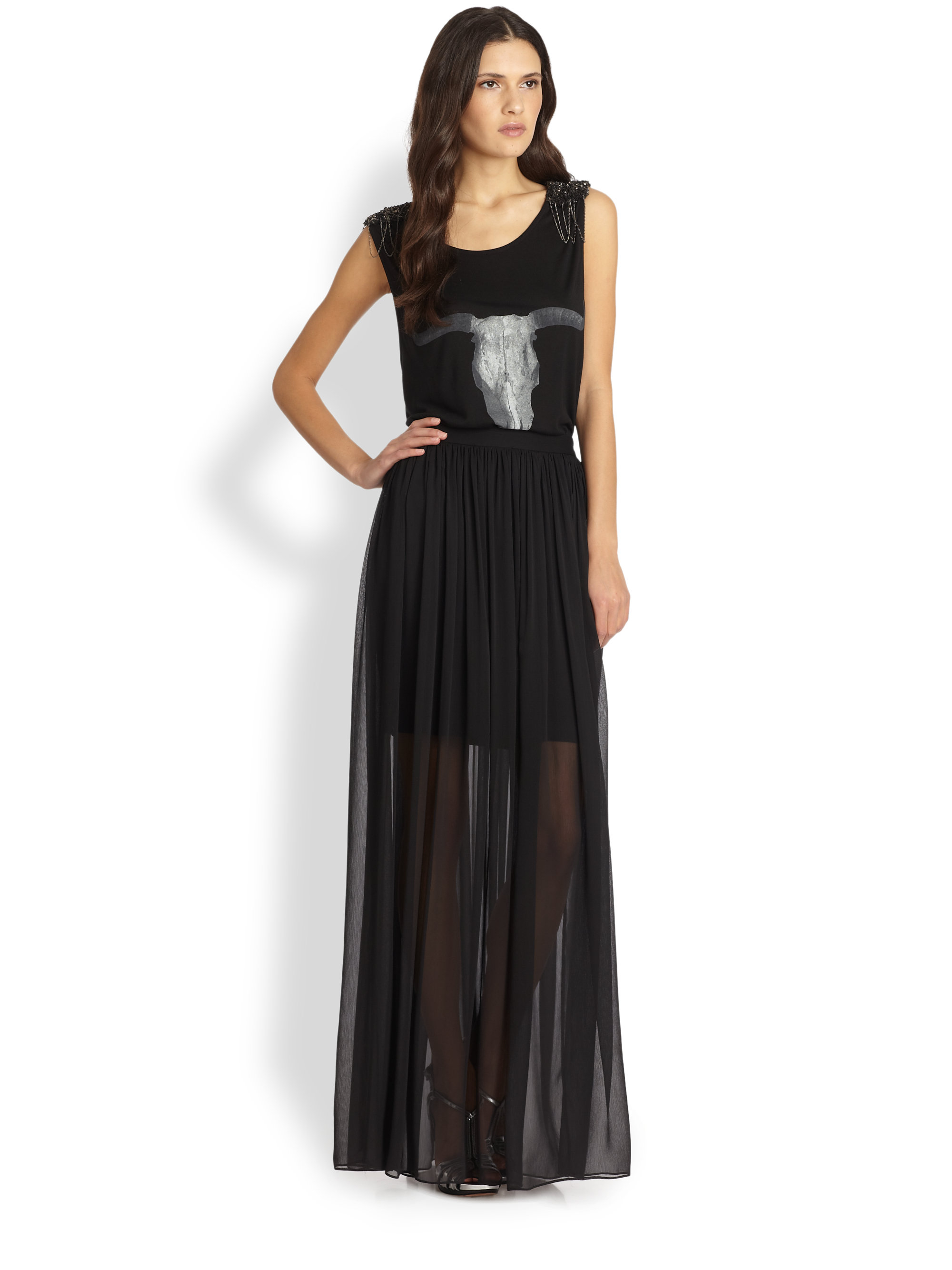 semi sheer maxi skirt in black lyst
