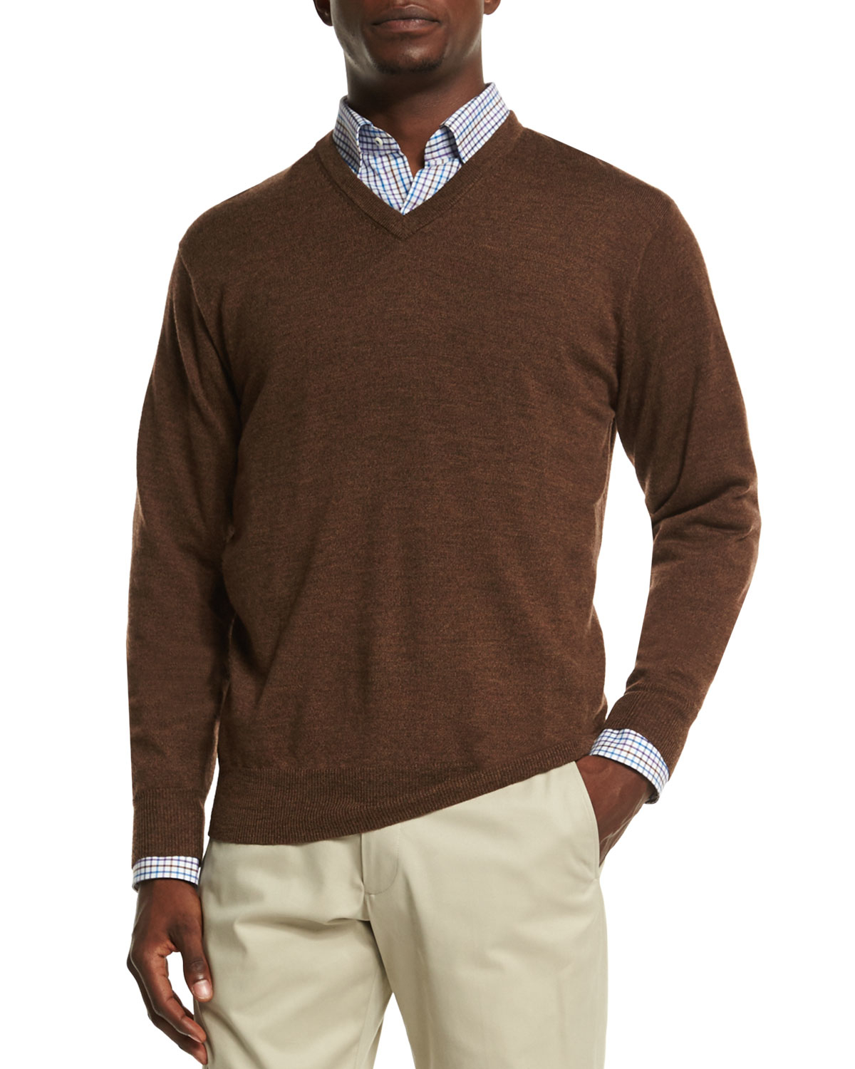 Peter millar Merino Wool V-neck Sweater in Brown for Men | Lyst