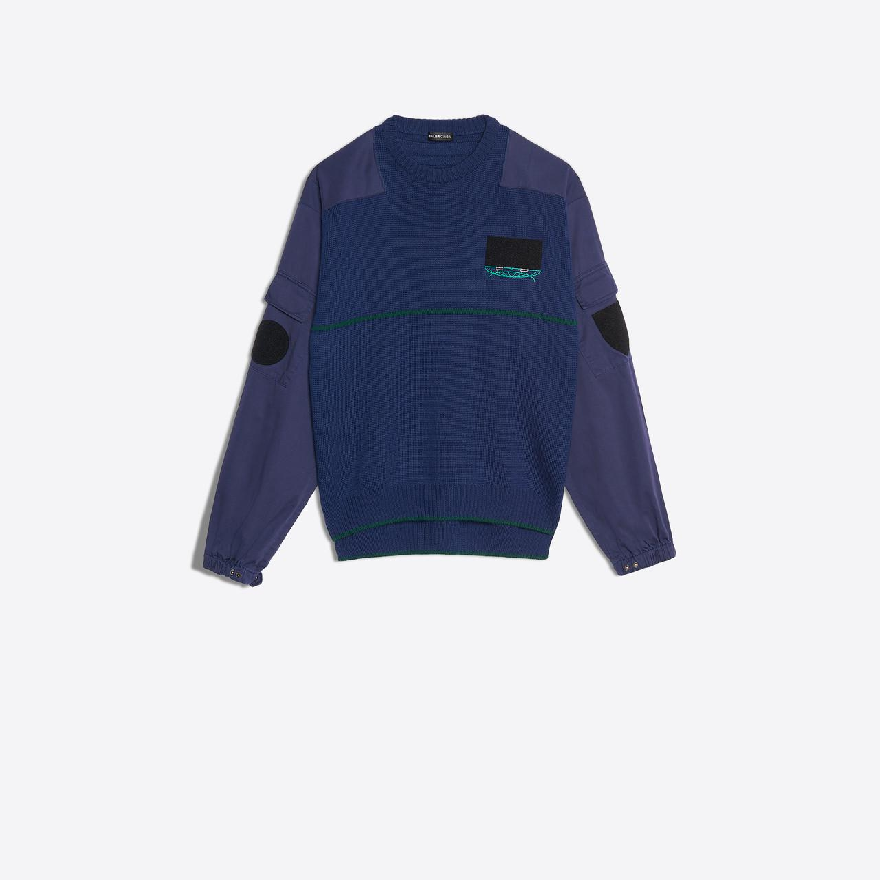 7ce0a0ec Lyst - Balenciaga Patch Crewneck in Blue for Men