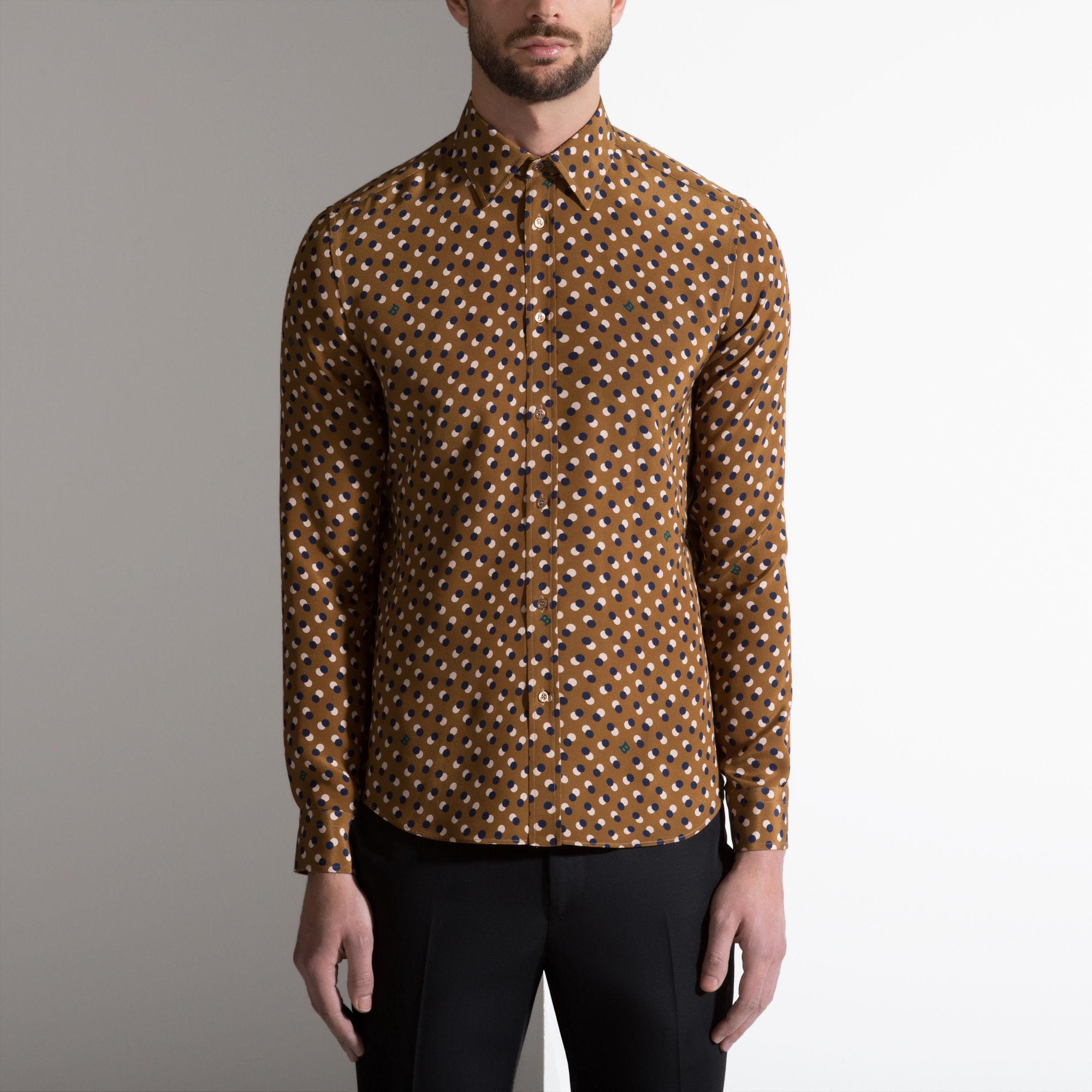 Bally 60s Polka Dot Shirt Men S Silk Shirt In Multi Camel