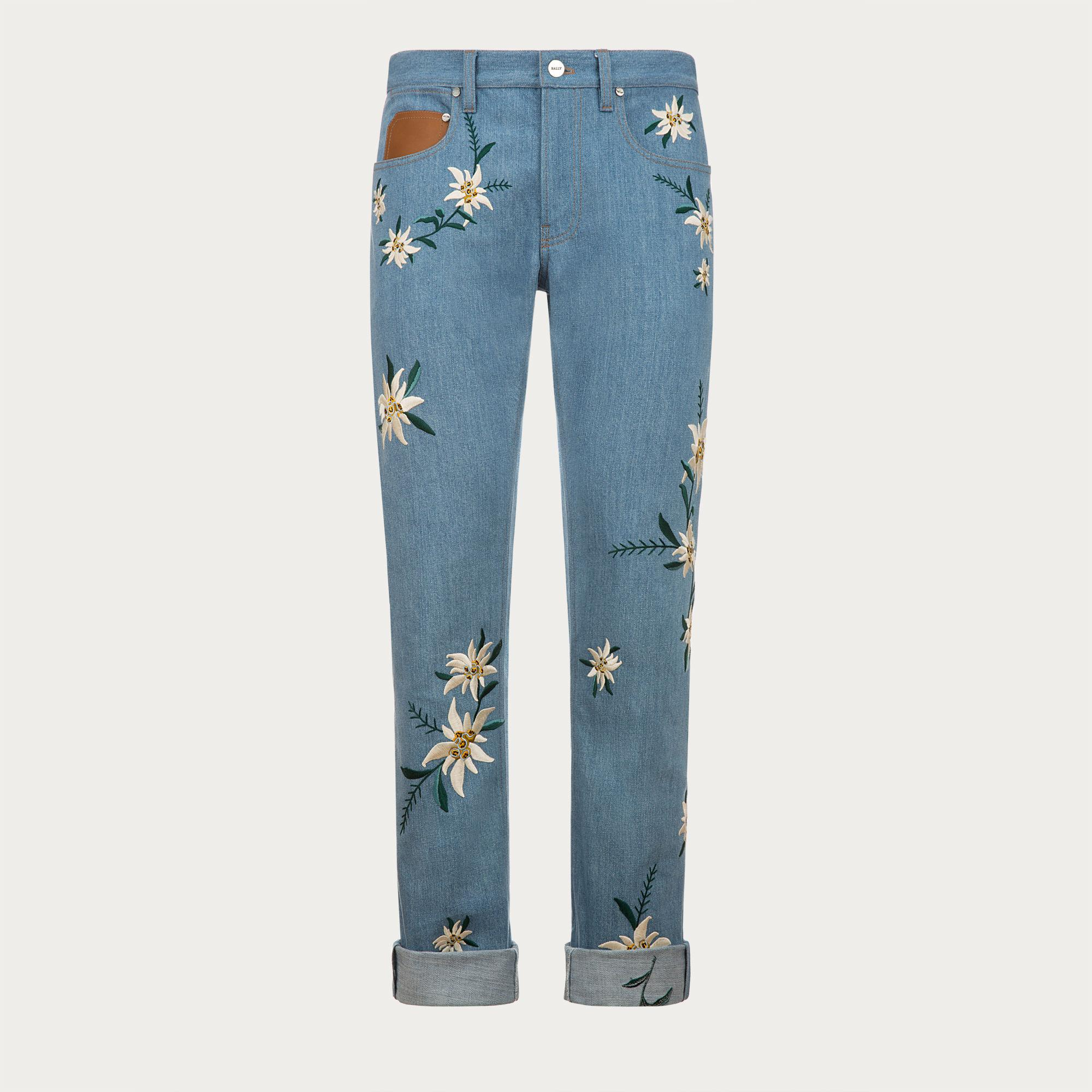 Bally embroidered swiss flower jeans in blue for men lyst