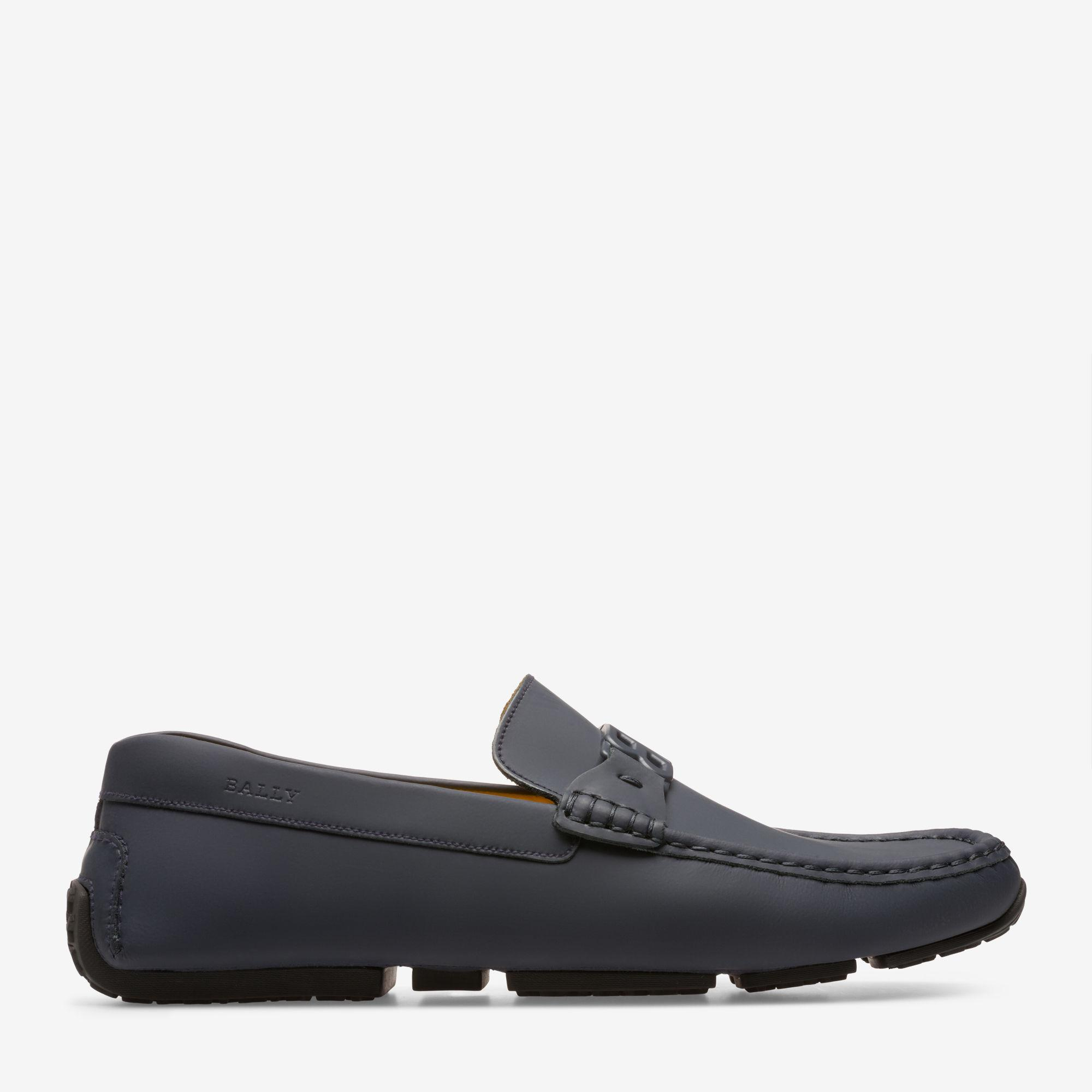 Pericles Black, Mens rubber-coated calf leather driver in black Bally