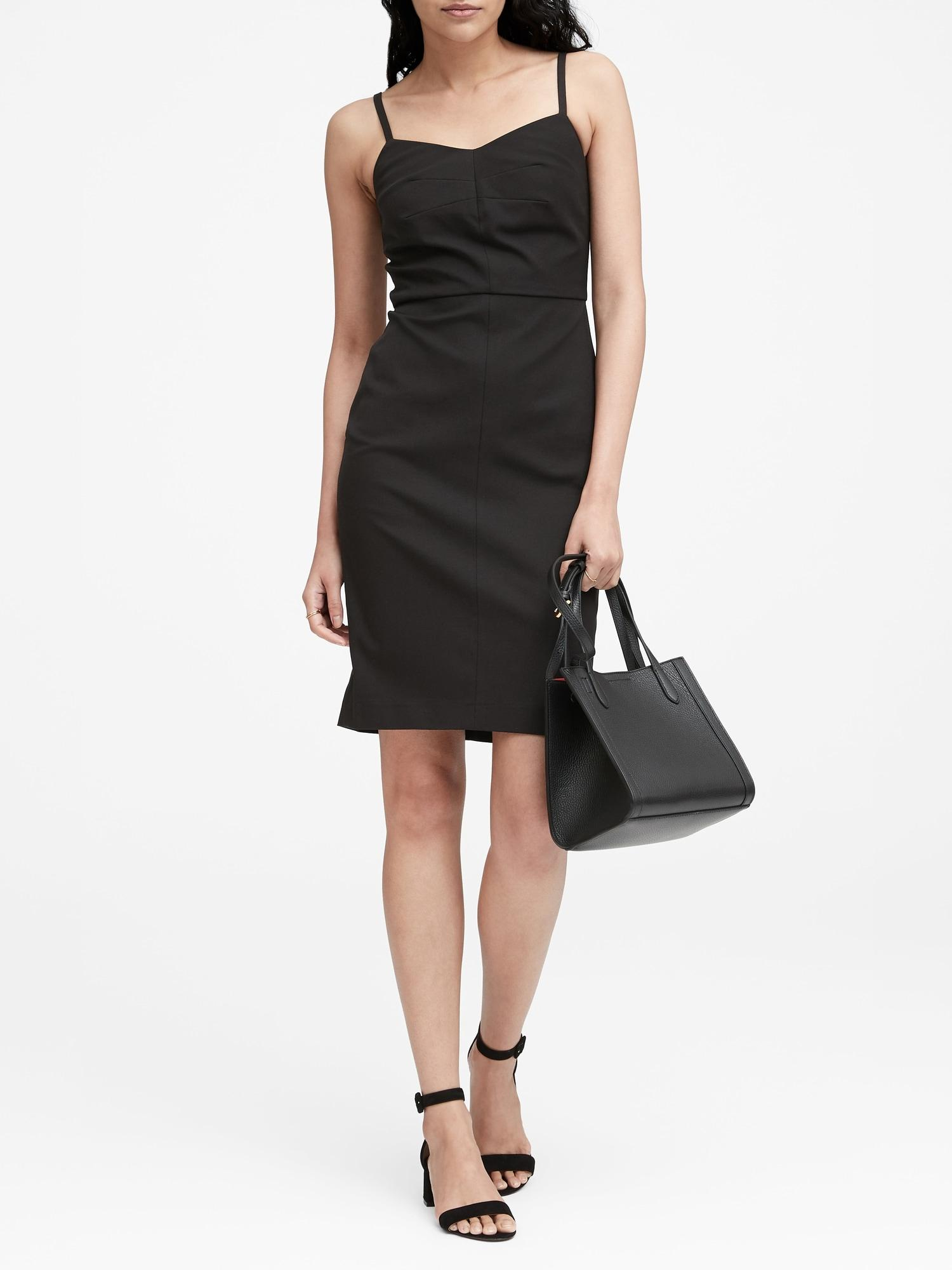 3db596c342 Lyst - Banana Republic Strappy Bi-stretch Sheath Dress in Black