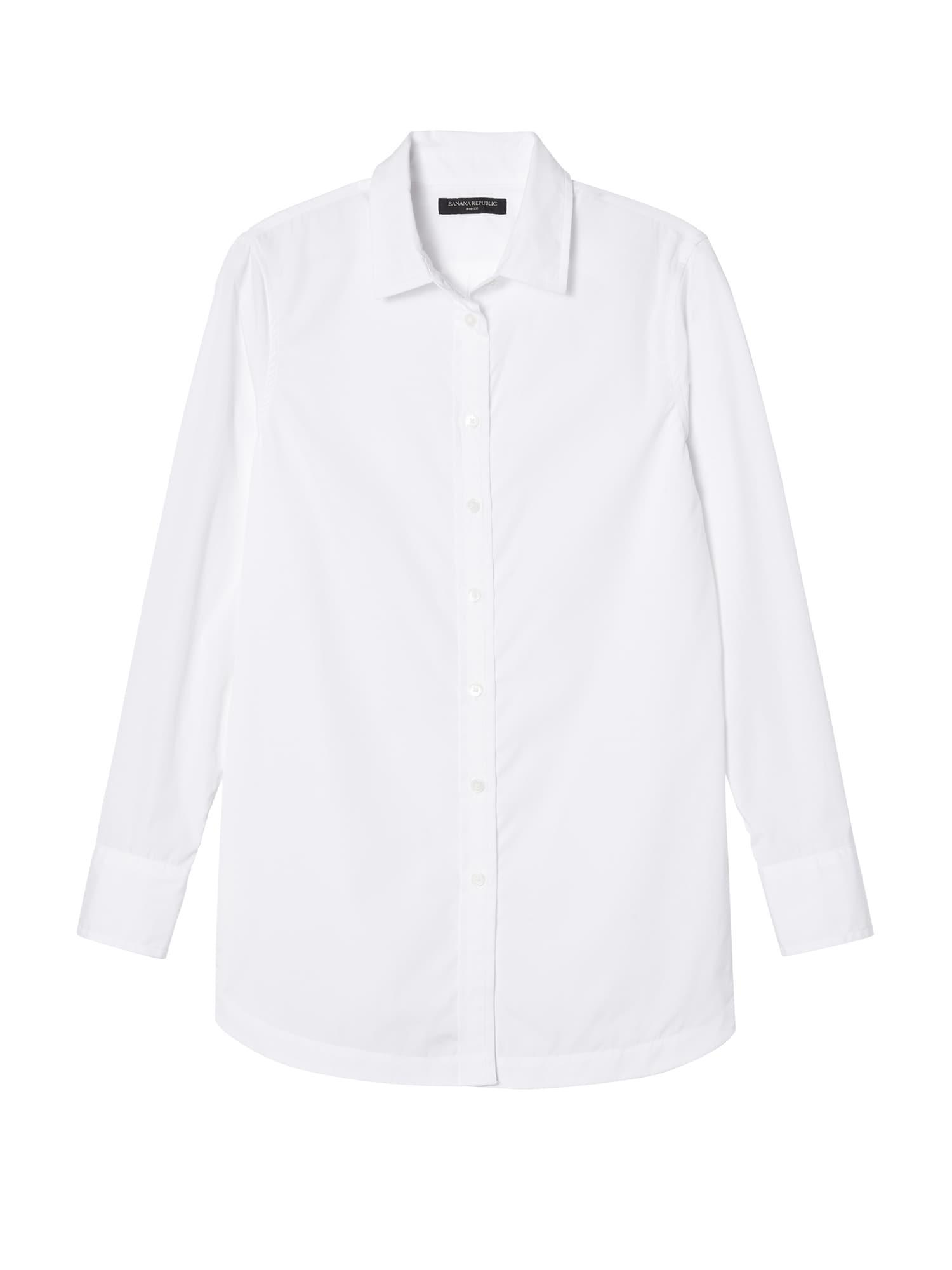 44ce96b99828e Banana Republic - White Petite Parker Tunic-fit Super-stretch Shirt - Lyst.  View fullscreen
