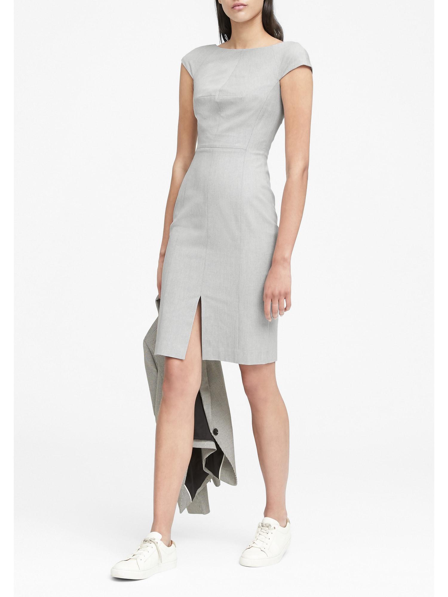 106d53d3d321 Lyst - Banana Republic Heathered Bi-stretch V-back Sheath Dress in Gray