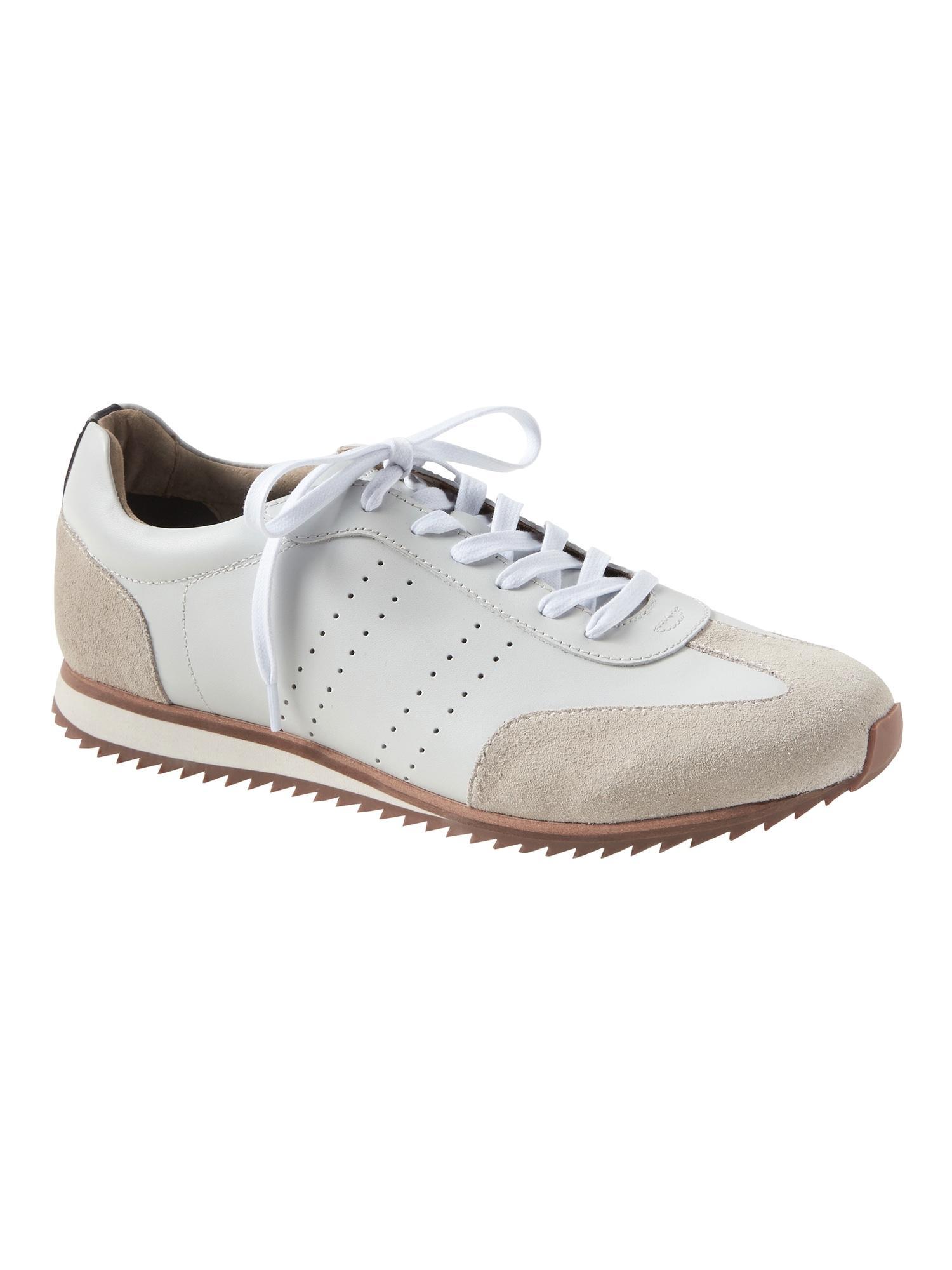 0d40287cbd Lyst - Banana Republic Thane Leather Trainer Sneaker in White for Men