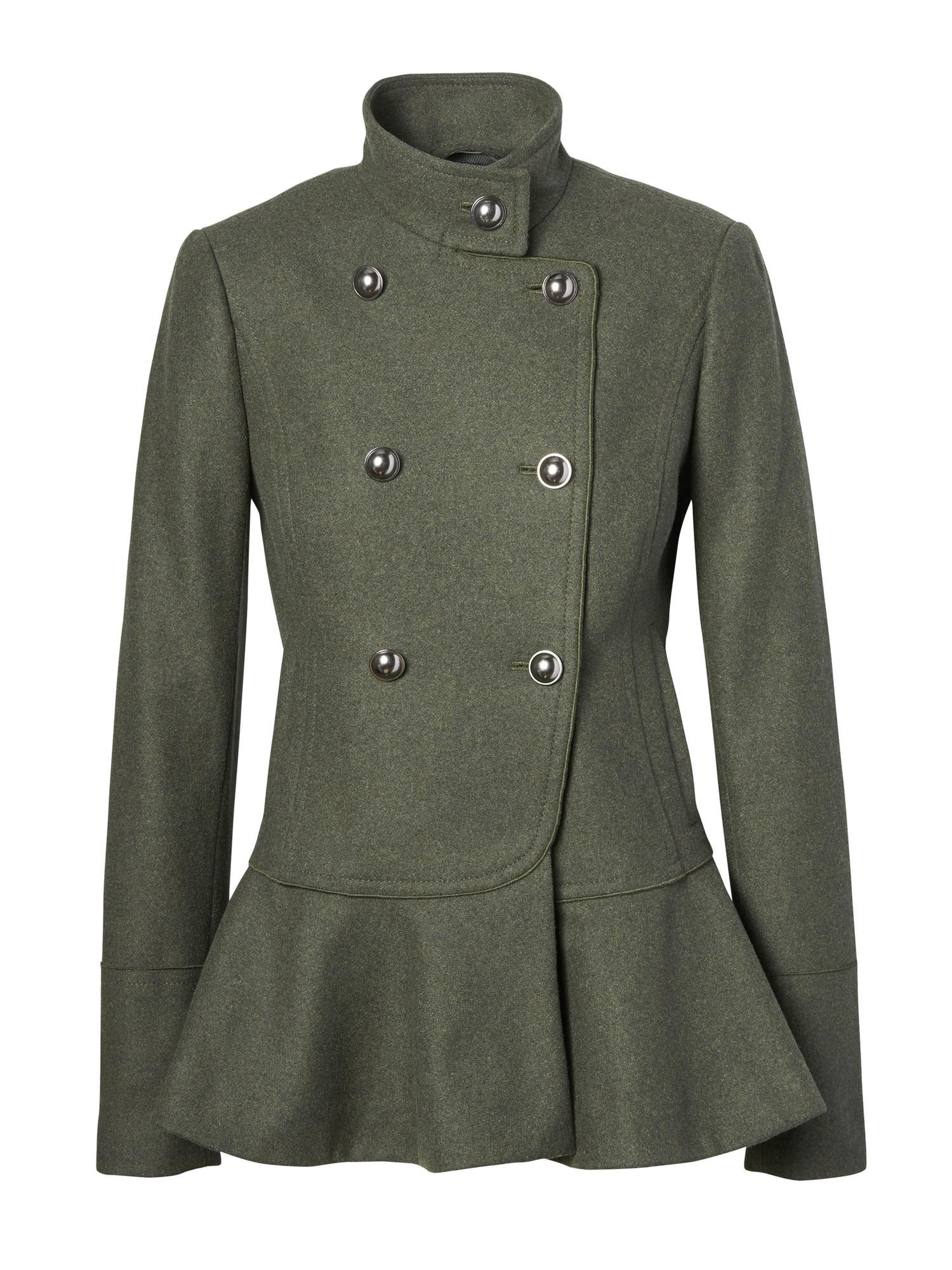 Lyst - Banana Republic Italian Melton Wool-blend Peplum-hem Coat in ... 67bcd1f4f