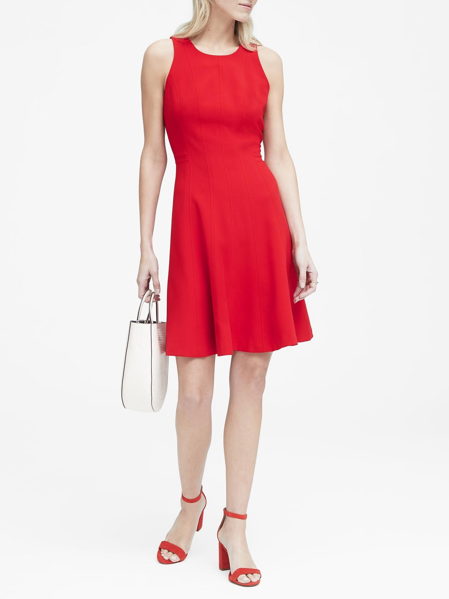 dceaa436d344 Lyst - Banana Republic Paneled Fit-and-flare Dress in Red