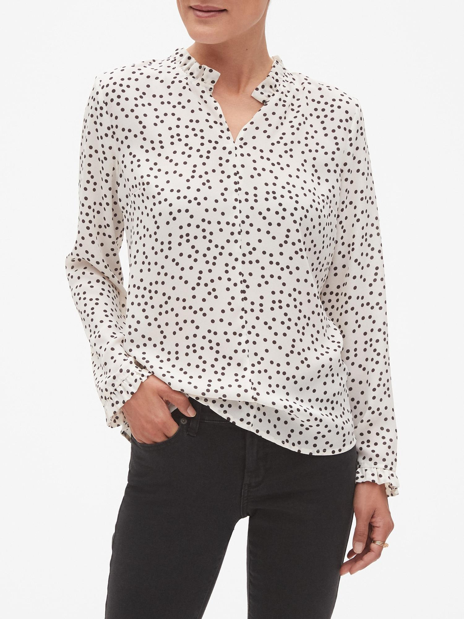 bed0417afce93 Banana Republic Factory. Women s White Print High Collar Ruffle Trim Blouse