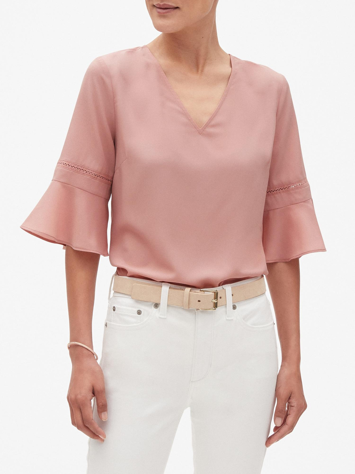 4d419345413bc Lyst - Banana Republic Factory Lace Flounce Sleeve V-neck Top in Pink