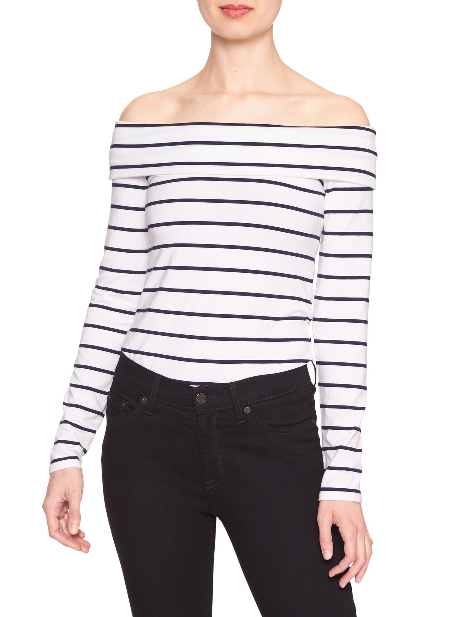 1ad6bffd14280 Lyst - Banana Republic Factory Stripe Off-shoulder Top in White