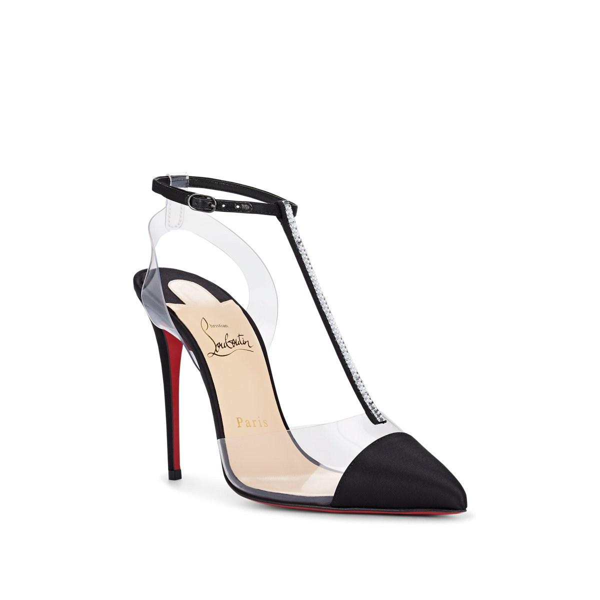 fec0e104885e Christian Louboutin - Nosy Strass 100 Black Satin T-strap Pumps - Lyst.  View fullscreen