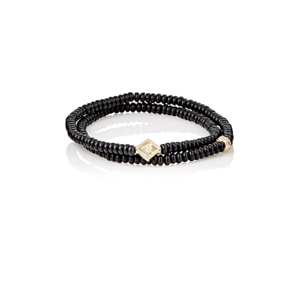 Luis Morais Wood And Gold Bead Bracelet - Dark brown pV02oLxi