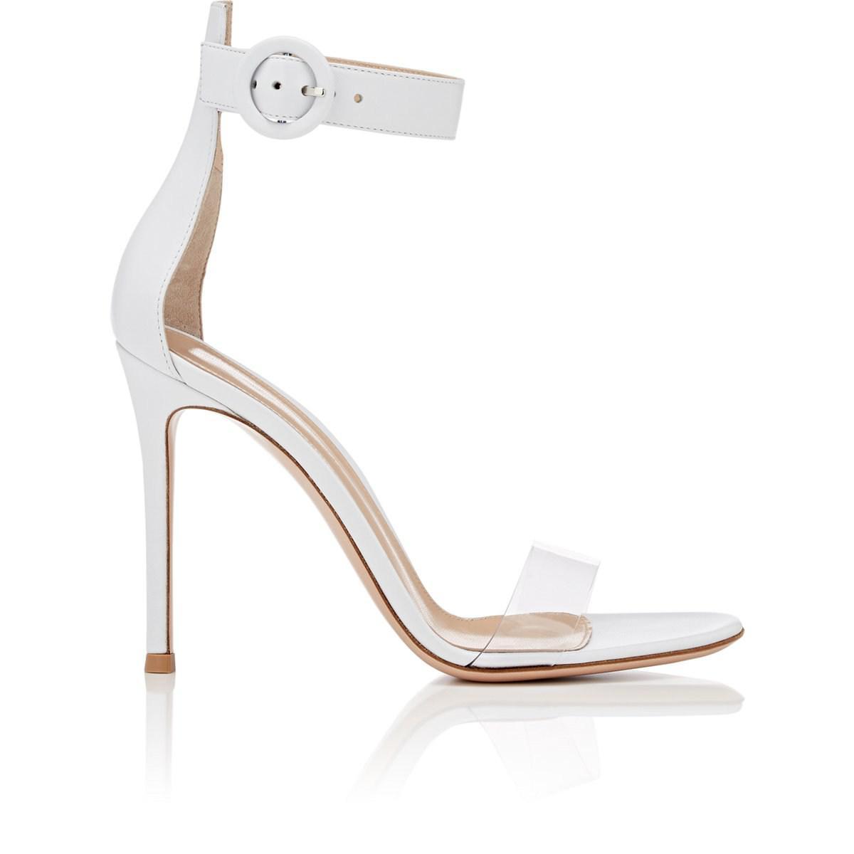 b65e42dfbad Lyst - Gianvito Rossi Stella Leather   Pvc Sandals in White