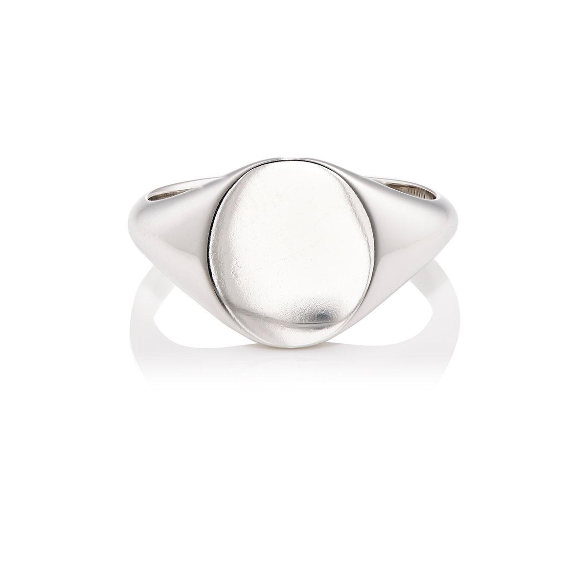 Barneys New York Mens White Gold Signet Ring QIi4cf78z2