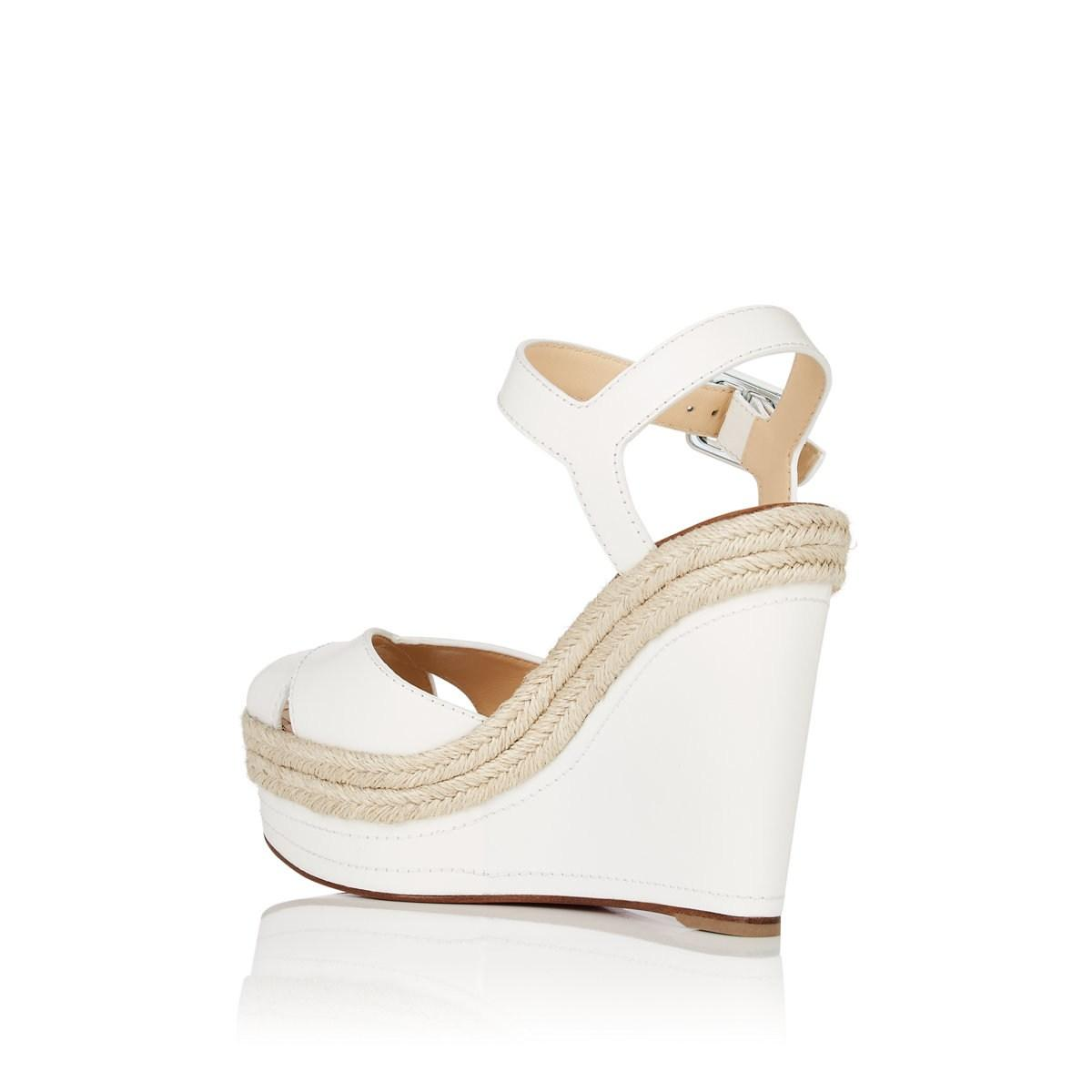 188ee1c0be40 Christian Louboutin - White Almeria Leather Platform-wedge Sandals - Lyst.  View fullscreen