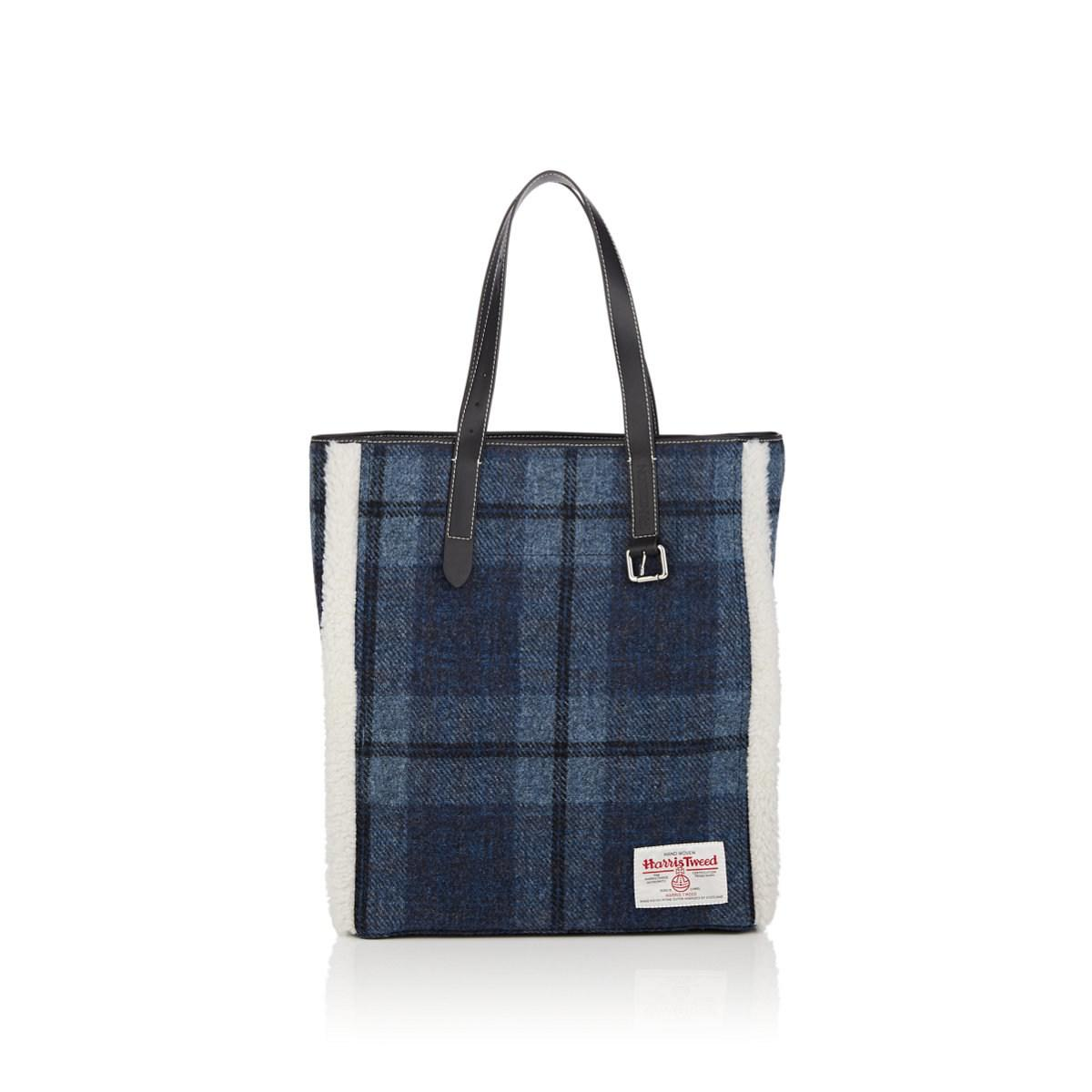 215407154c5a Lyst - JW Anderson Shearling-trimmed Plaid Wool Tote Bag in Blue