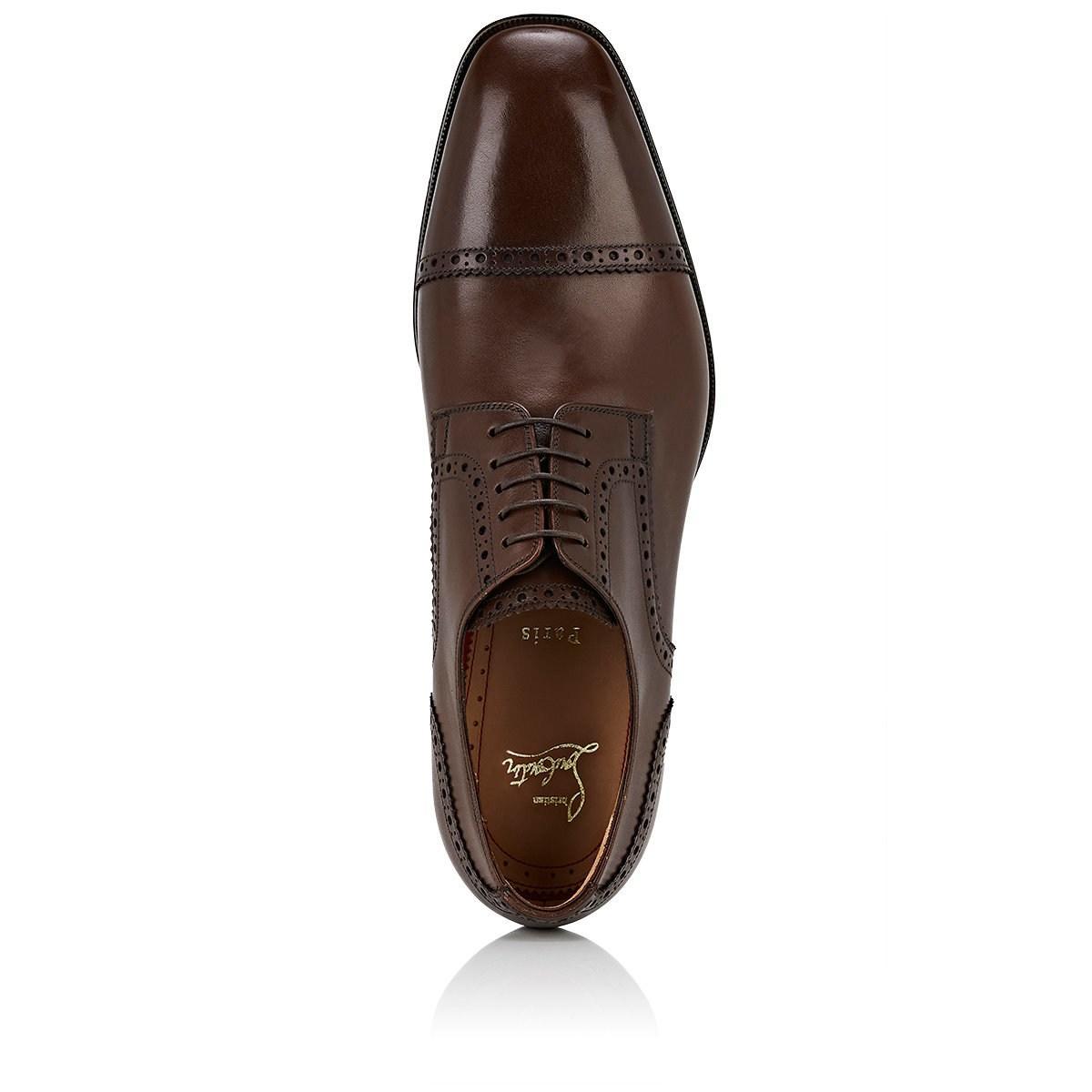5e51346c757 Christian Louboutin - Brown Cousin Charles Flat Leather Bluchers for Men -  Lyst. View fullscreen