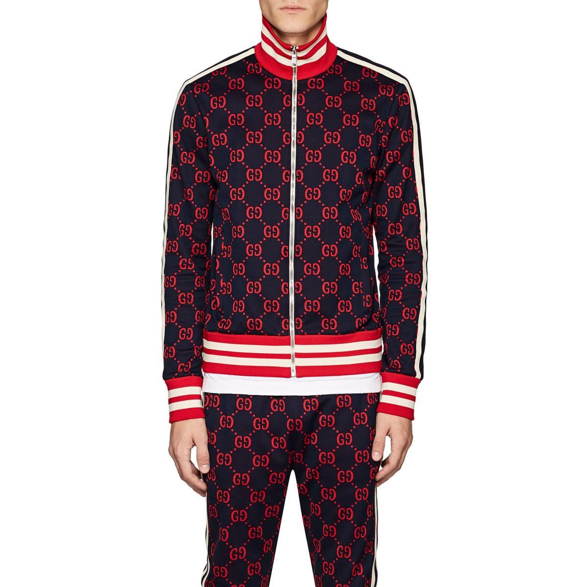 382ef316d Gucci Gg Supreme Cotton Track Jacket in Blue for Men - Lyst