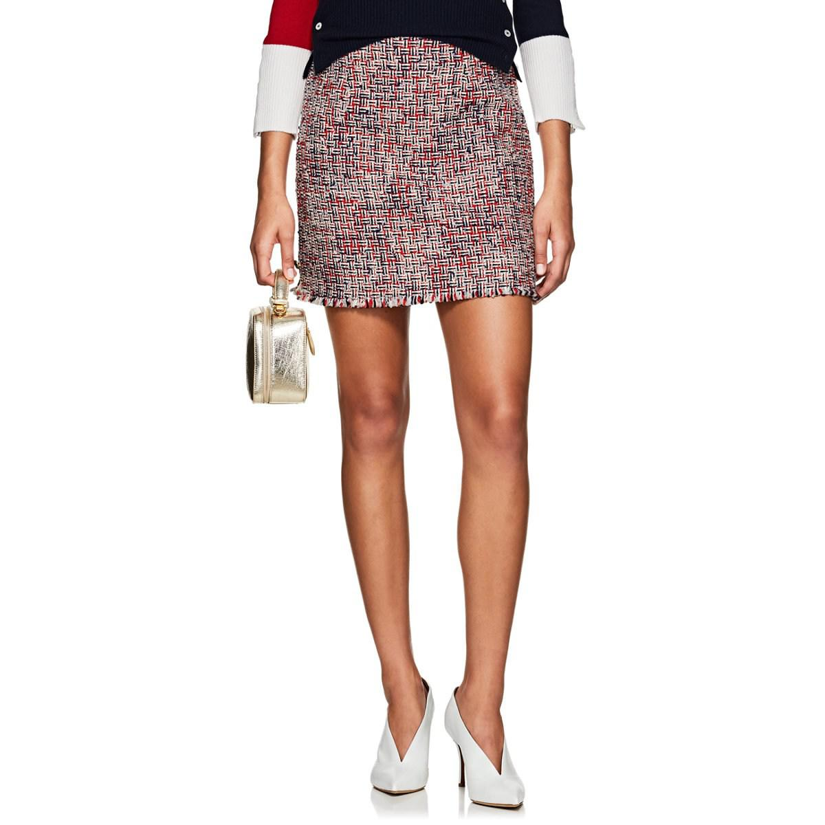 213ad10ce3a Thom Browne Wool-blend Tweed Miniskirt in Red - Lyst