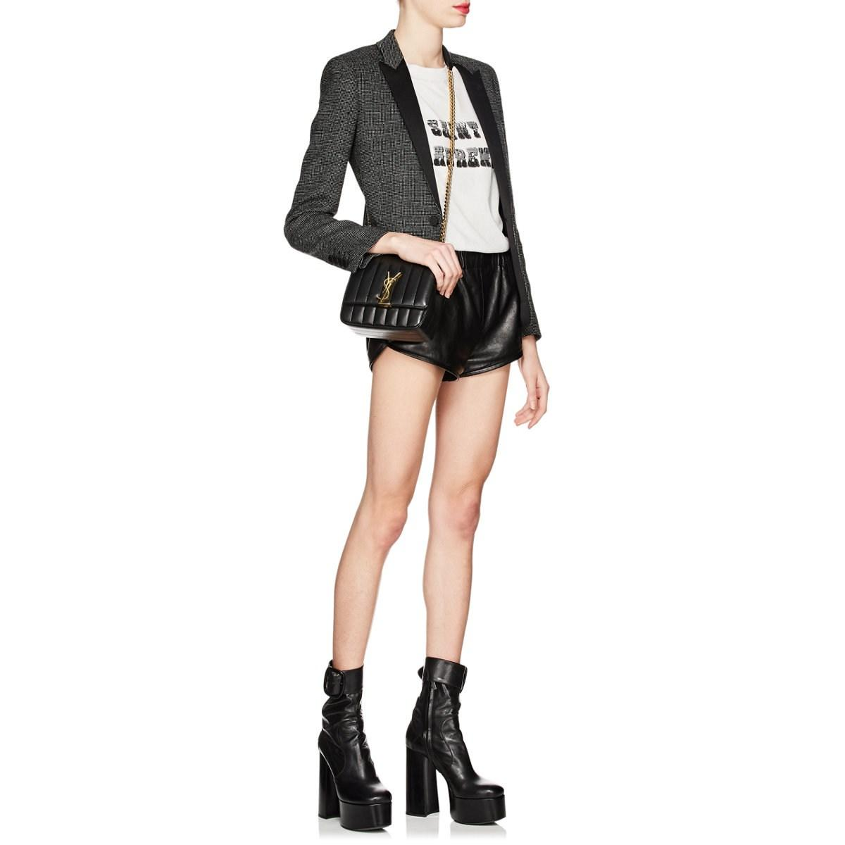 63beb1fcb64 Saint Laurent - Black Monogram Vicky Small Leather Chain Bag - Lyst. View  fullscreen