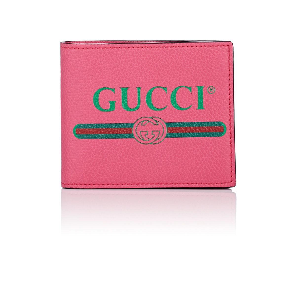b7ebb5ca6dc Gucci - Pink Logo Leather Billfold for Men - Lyst. View fullscreen