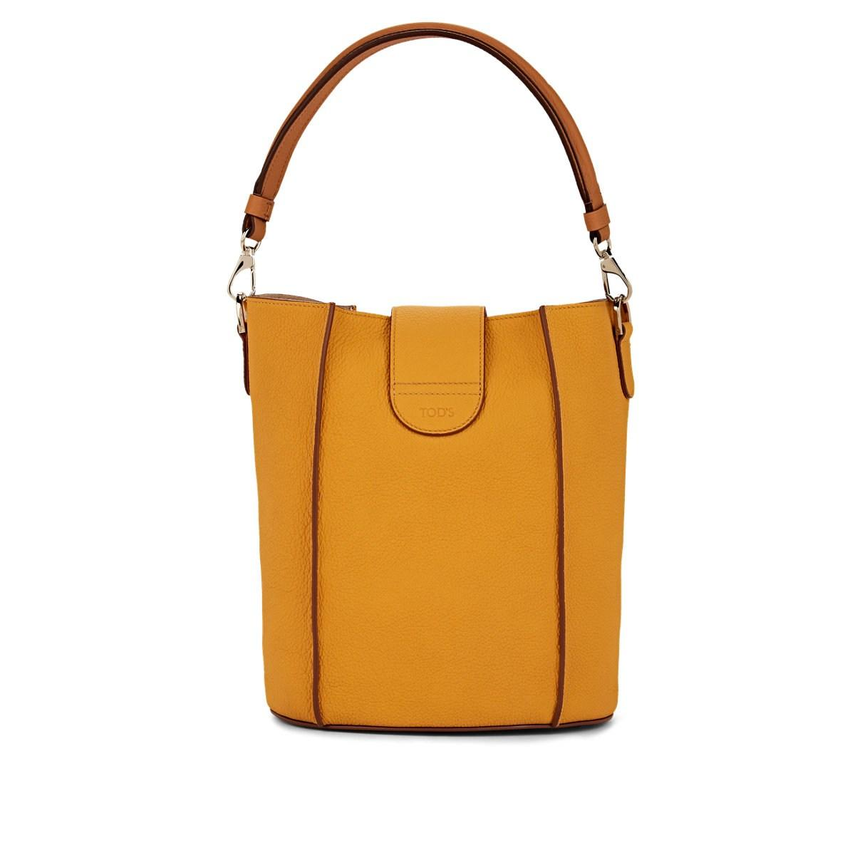Double T Ring Leather Bucket Bag