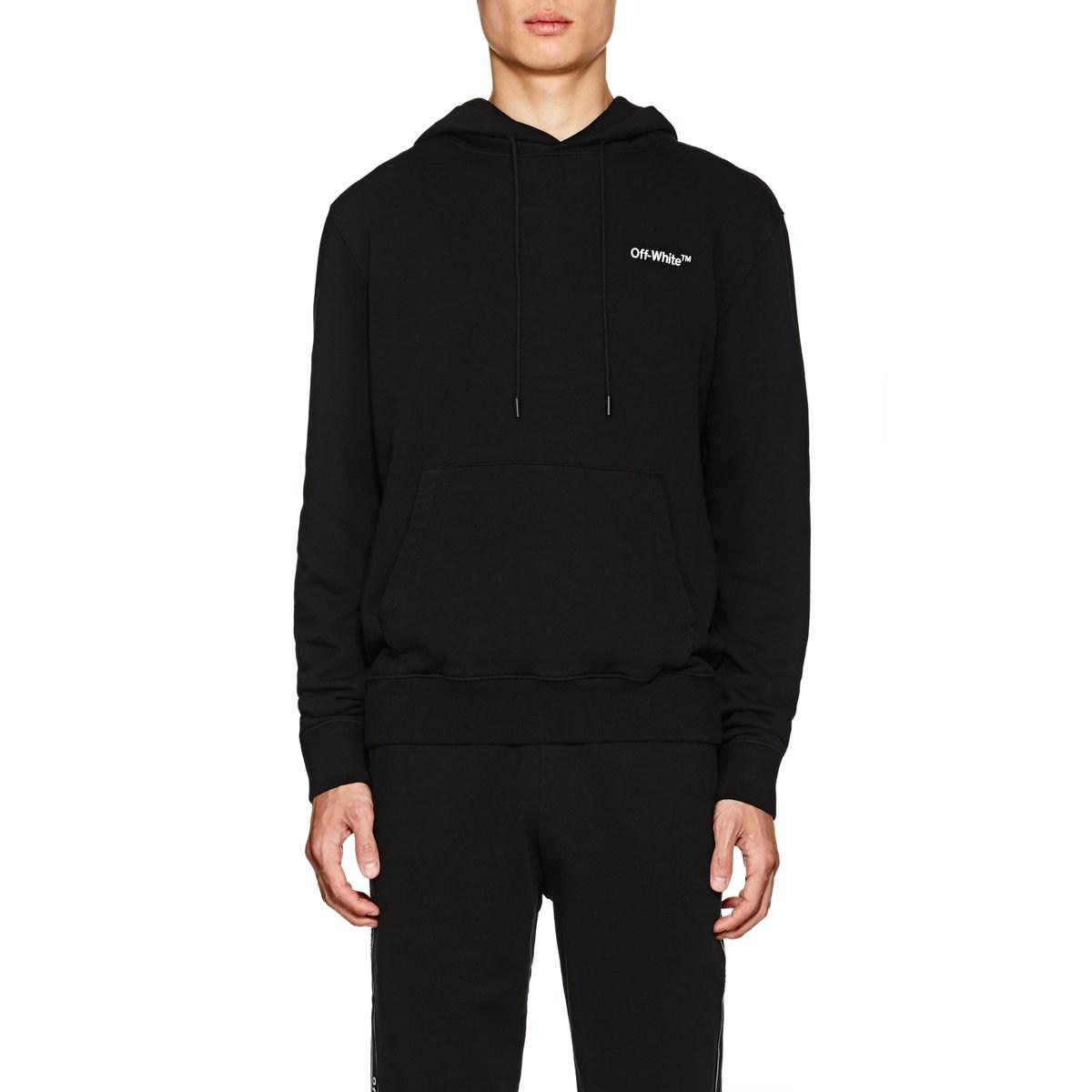 fcb4c2c3d48f Lyst - Off-White c o Virgil Abloh Logo Cotton Terry Hoodie in Black ...