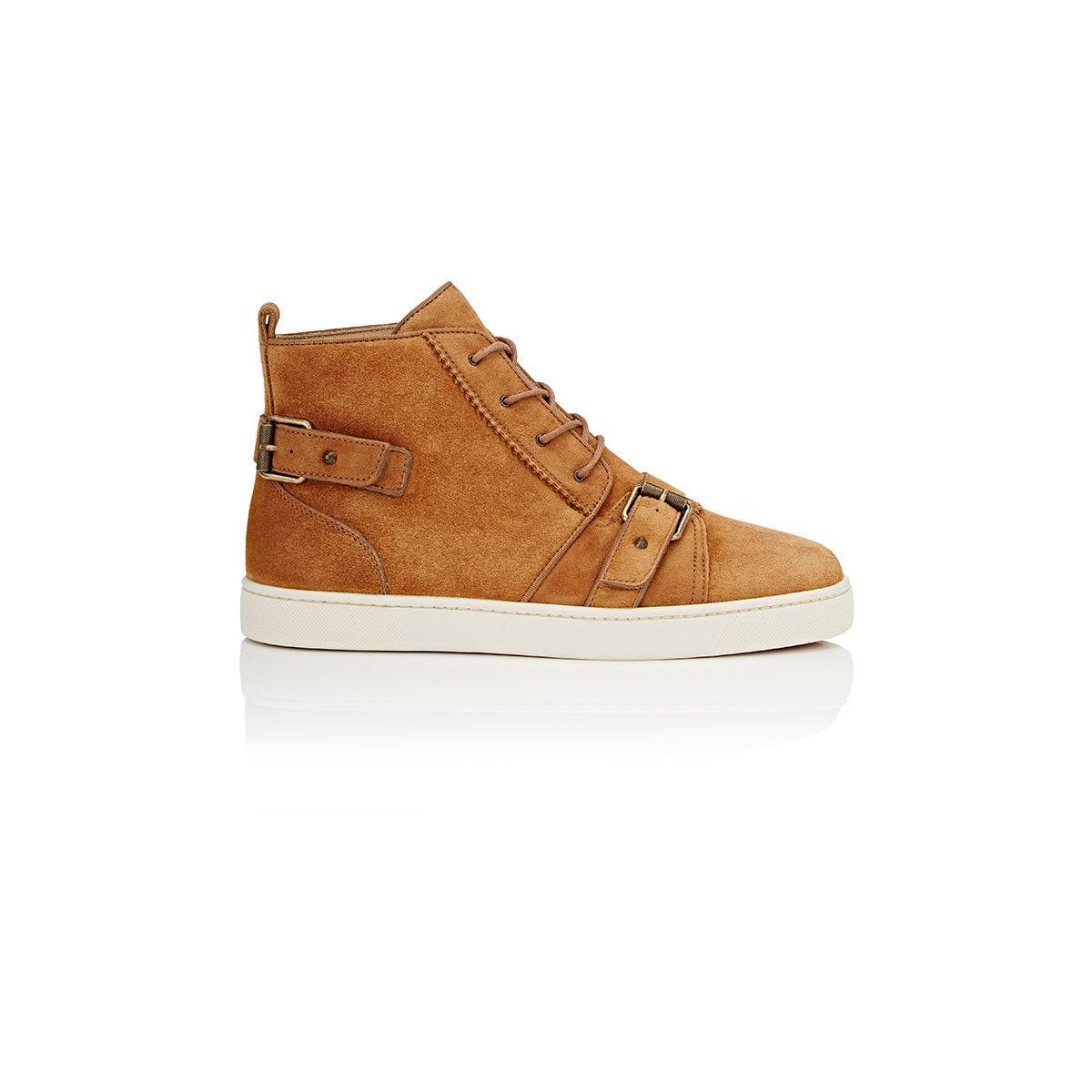 a2fb23caa95c ... latte 82205 91bbd best lyst christian louboutin nono strap suede  sneakers for men c0ba3 257b3 ...