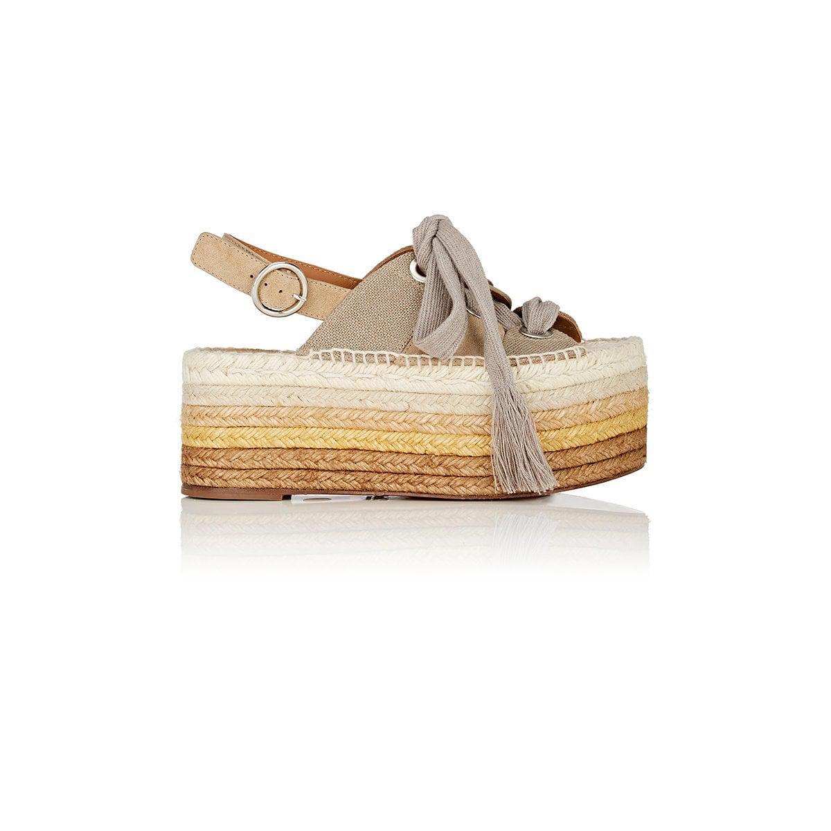 f7aed026610 Lyst - Chloé Qai Suede   Canvas Platform Espadrille Sandals in Natural
