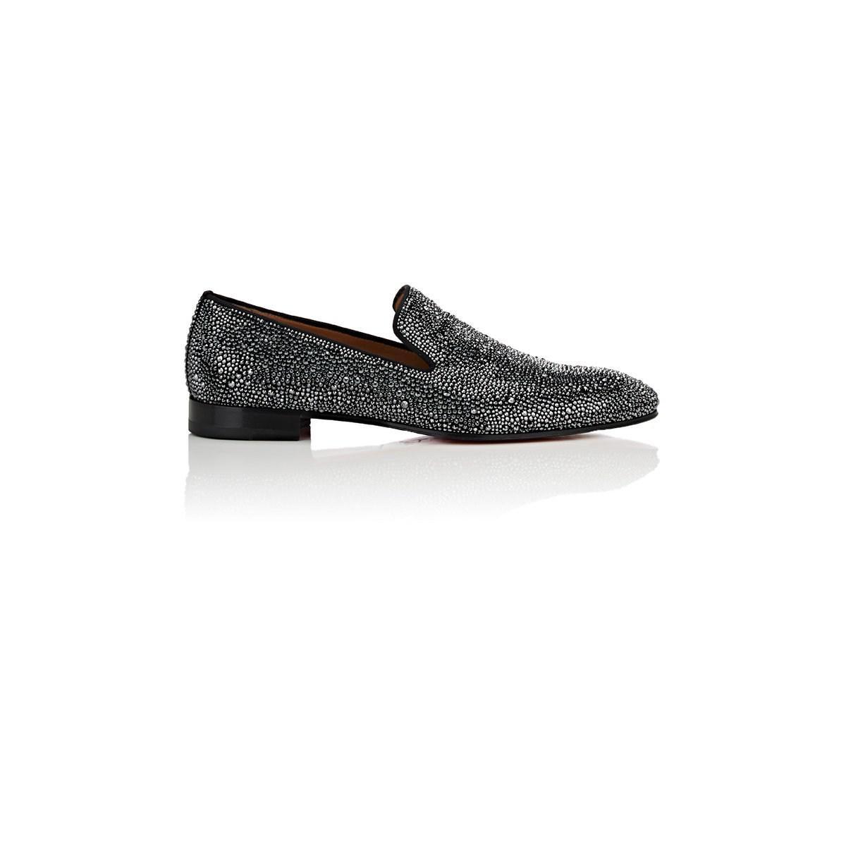 ce2c48fc0196e6 Lyst - Christian Louboutin Dandelion Strass Suede Venetian Loafers ...